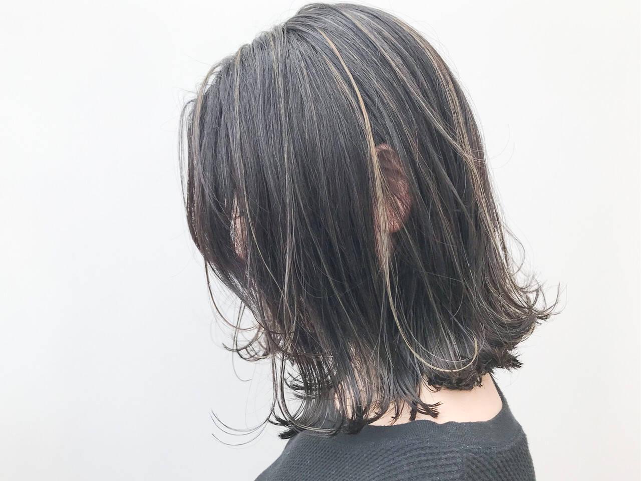 女子力 ボブ ナチュラル ハイライトヘアスタイルや髪型の写真・画像