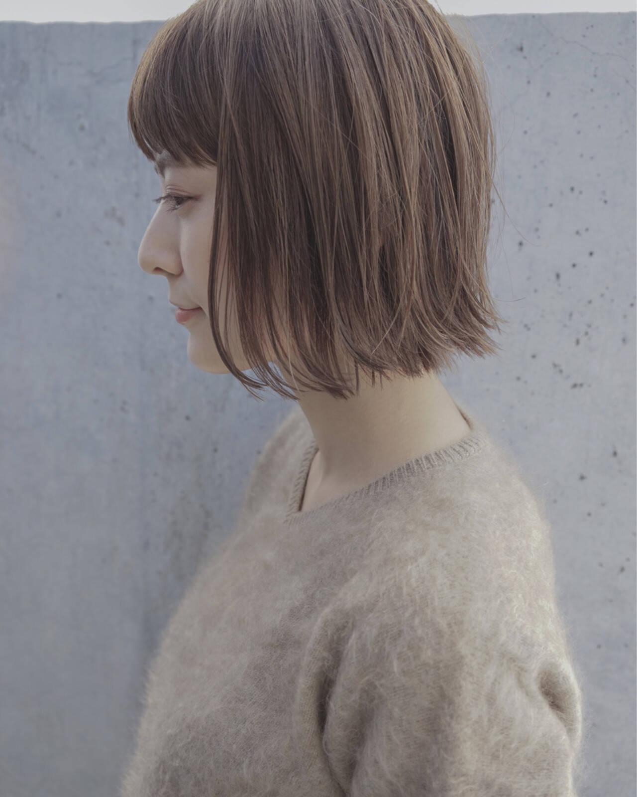 ハイライト ボブ ナチュラル ストレートヘアスタイルや髪型の写真・画像