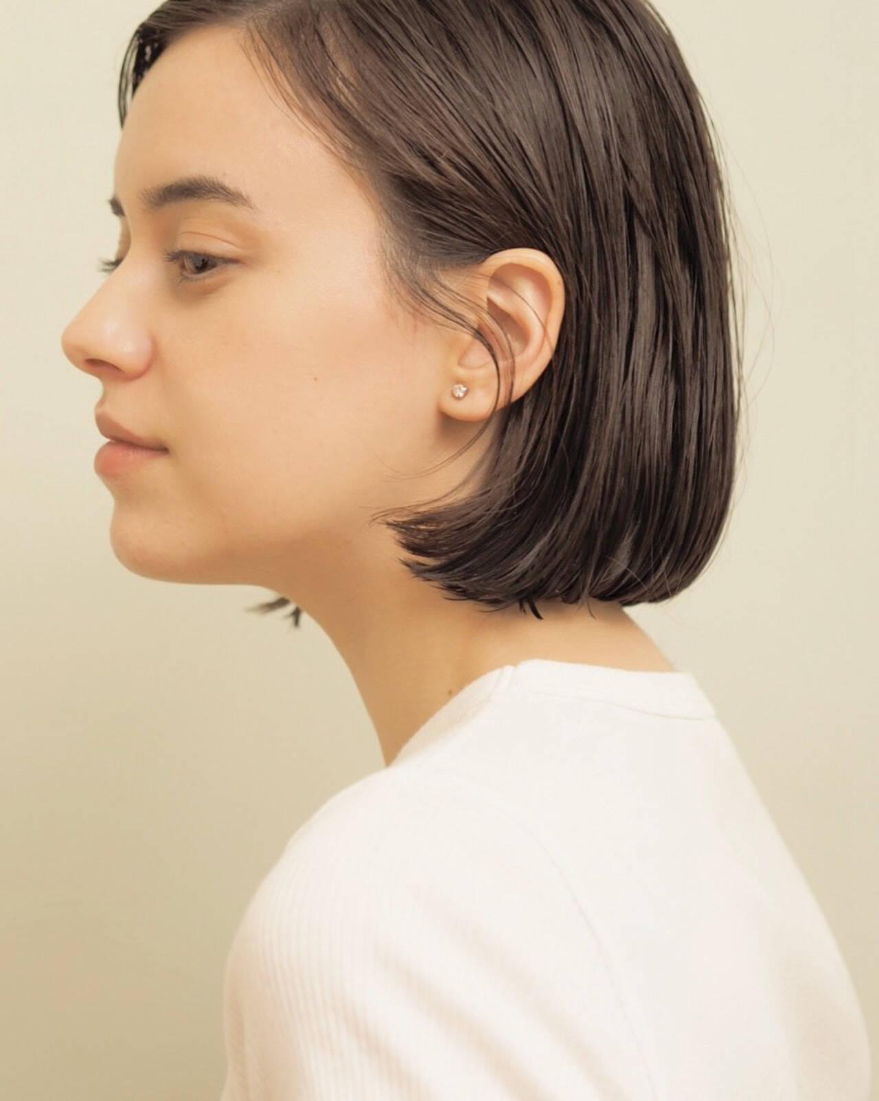 切りっぱなしボブ ミニボブ ナチュラル まとまるボブヘアスタイルや髪型の写真・画像