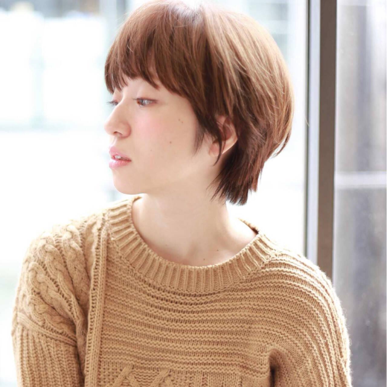 秋 ショート かわいい ナチュラルヘアスタイルや髪型の写真・画像