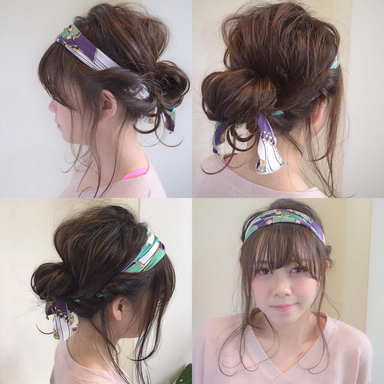 ショート フェミニン バンダナ 簡単ヘアアレンジヘアスタイルや髪型の写真・画像