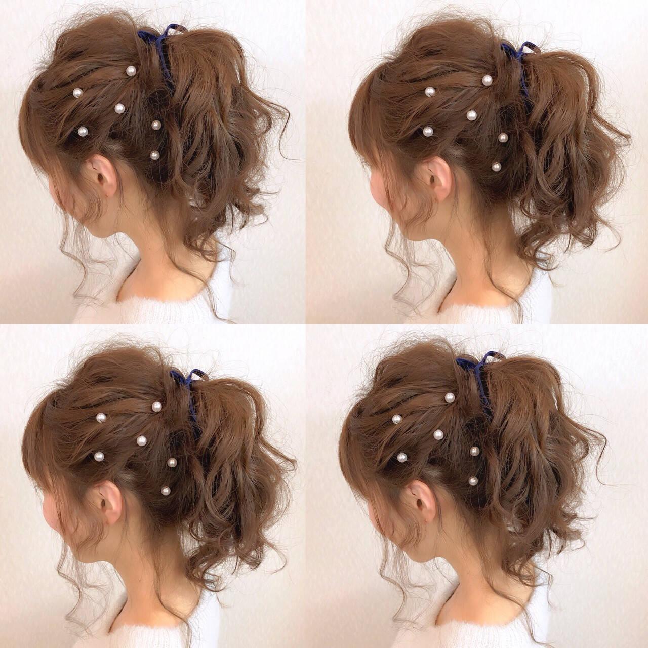簡単ヘアアレンジ フェミニン ミディアム ポニーテールヘアスタイルや髪型の写真・画像