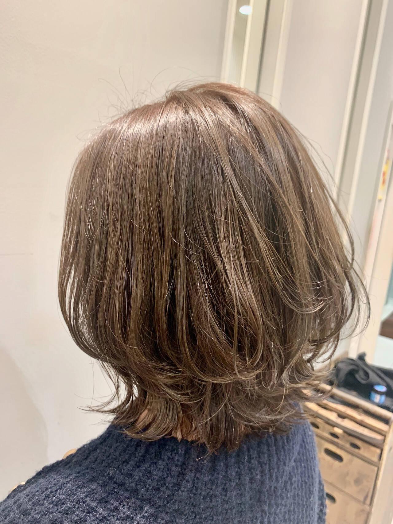 ナチュラル モテボブ ミディアム ひし形シルエットヘアスタイルや髪型の写真・画像