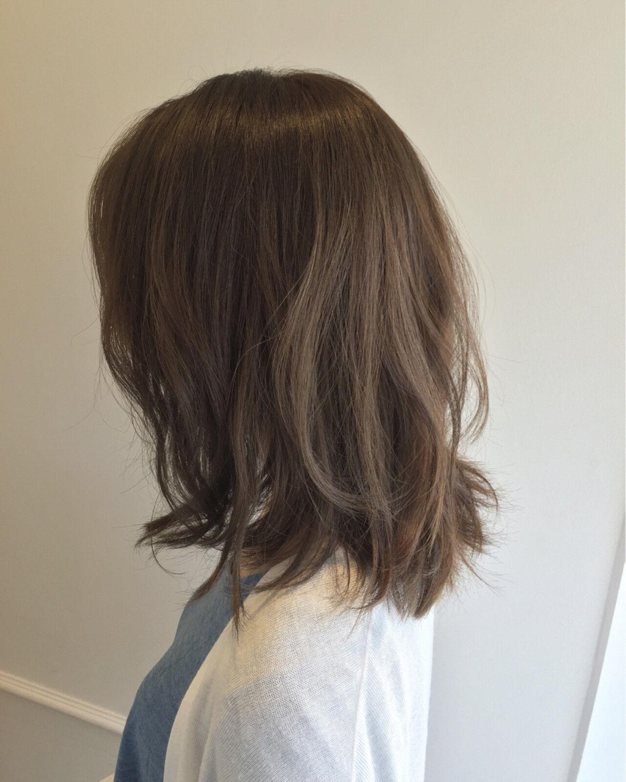 暗髪 ミディアム ゆるふわ 大人かわいいヘアスタイルや髪型の写真・画像