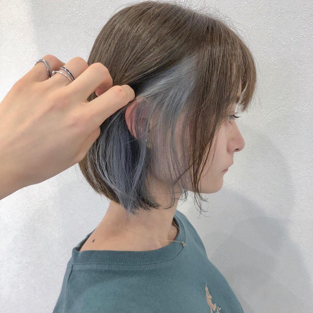 夏 インナーカラー インナーカラーホワイト ボブヘアスタイルや髪型の写真・画像