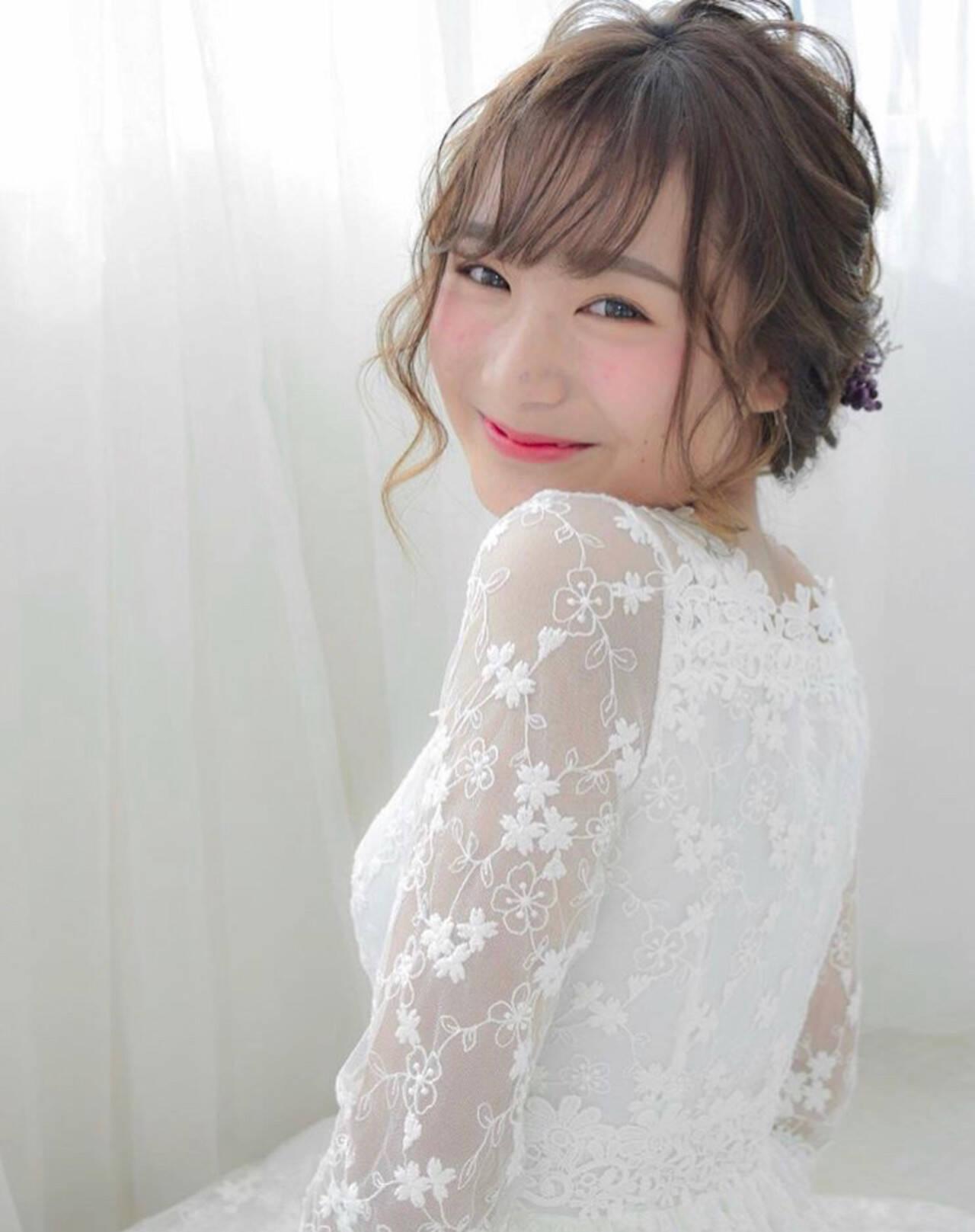 結婚式 成人式 ヘアアレンジ セミロングヘアスタイルや髪型の写真・画像