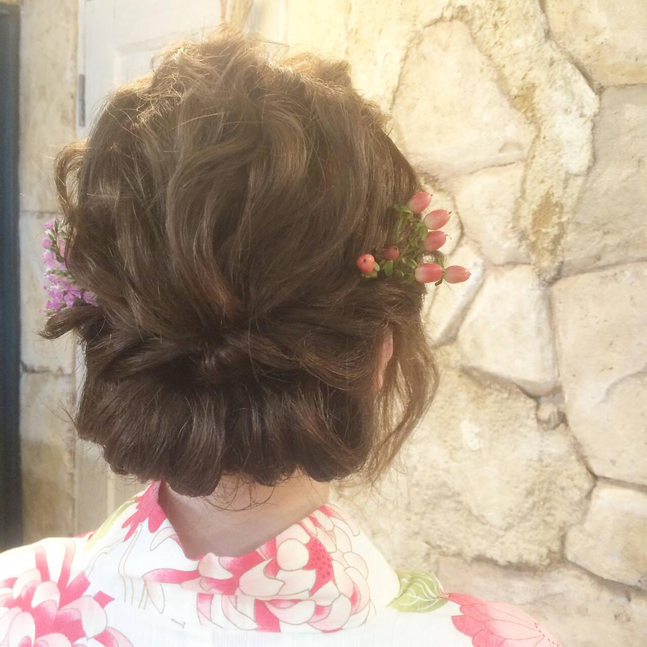 花火大会 お祭り 和装 ヘアアレンジヘアスタイルや髪型の写真・画像