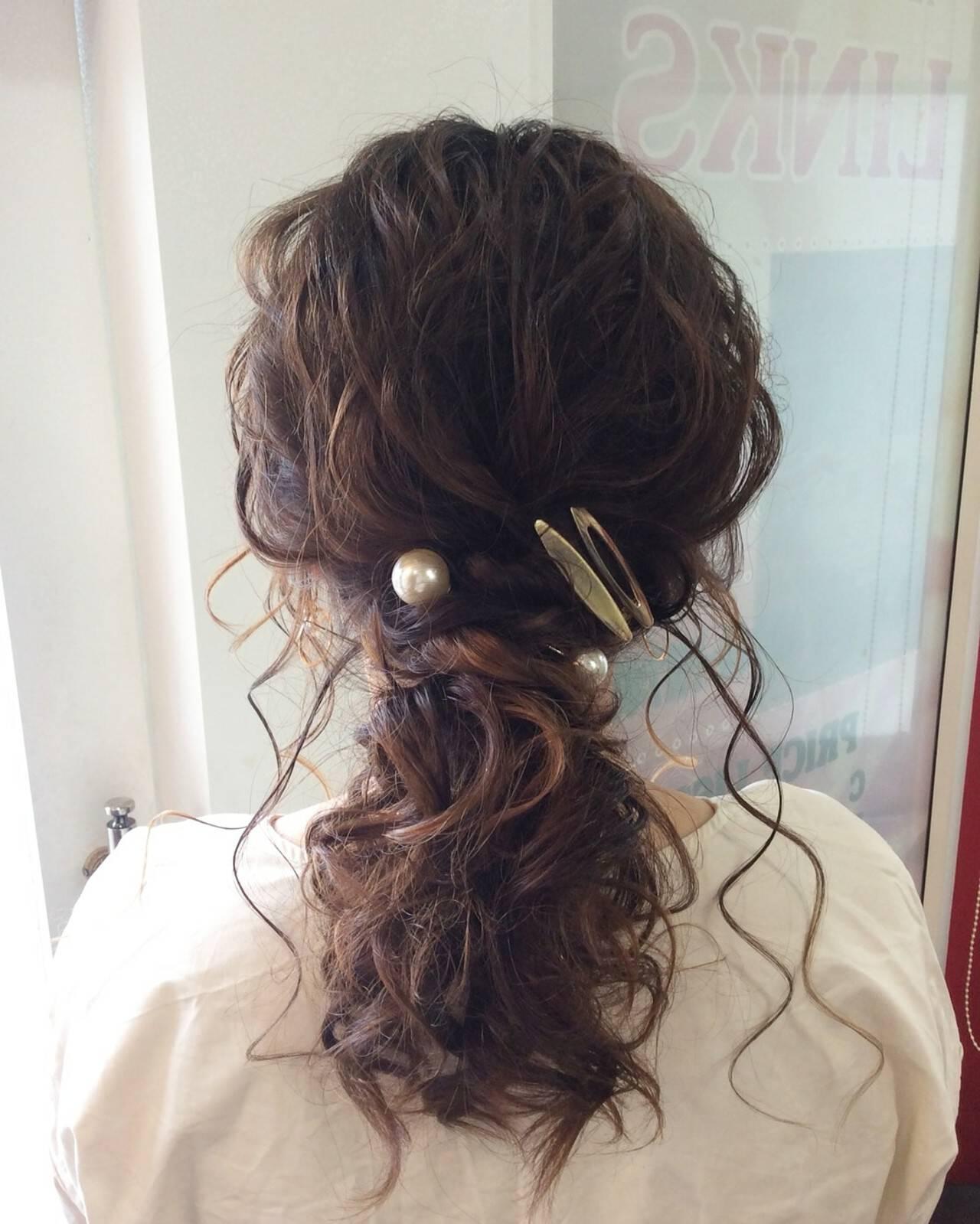 結婚式ヘアアレンジ ヘアセット ナチュラル セミロングヘアスタイルや髪型の写真・画像