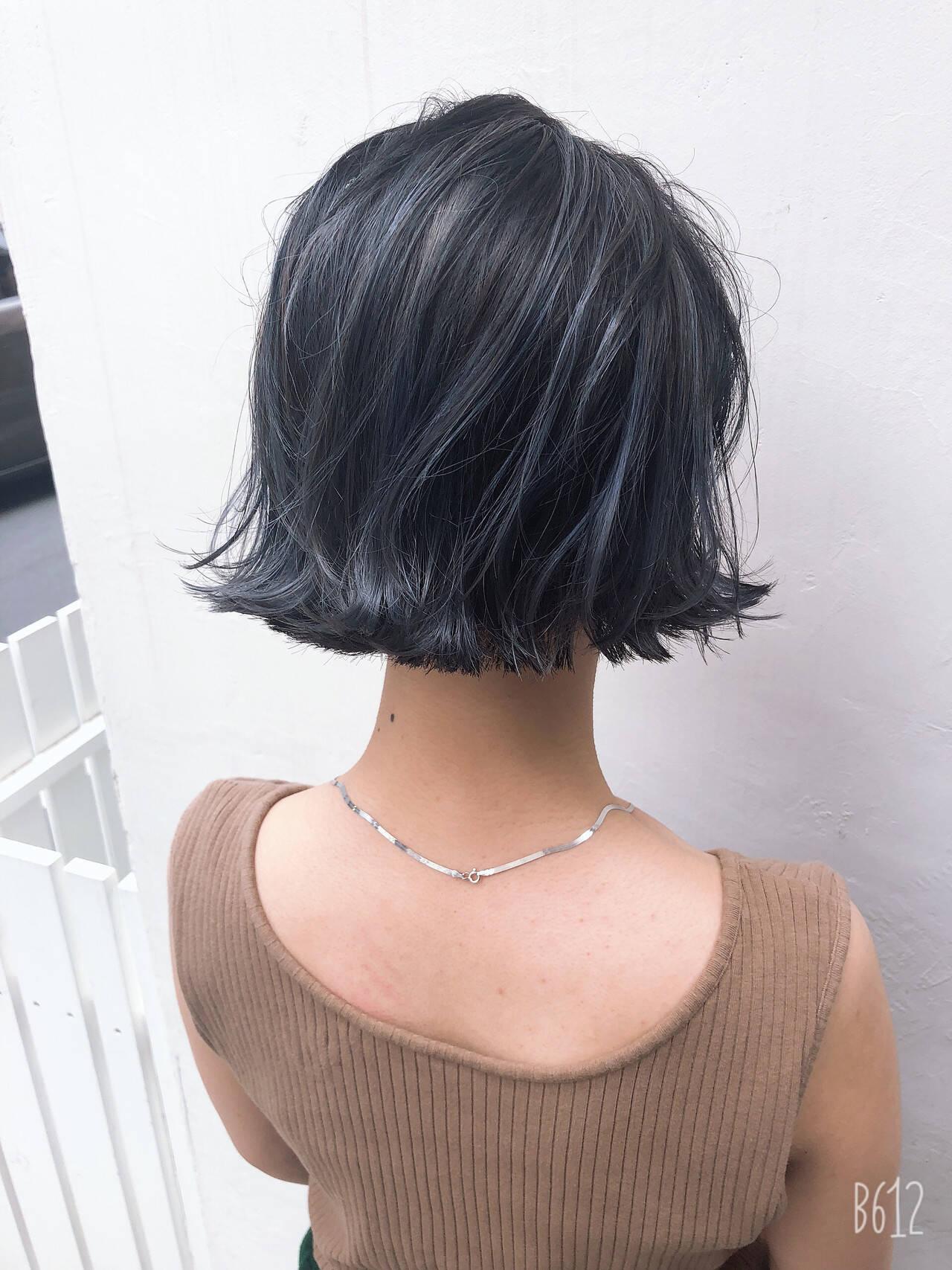 ナチュラル ハイライト グレージュ ボブヘアスタイルや髪型の写真・画像