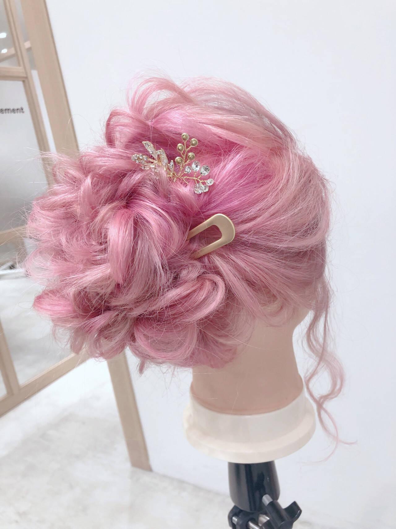 簡単ヘアアレンジ ヘアアレンジ フェミニン ミディアムヘアスタイルや髪型の写真・画像