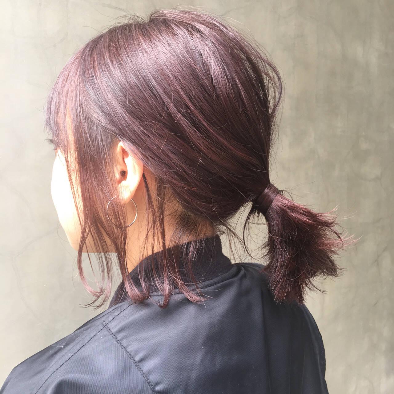 ボブ レッド ピンク ショートヘアスタイルや髪型の写真・画像