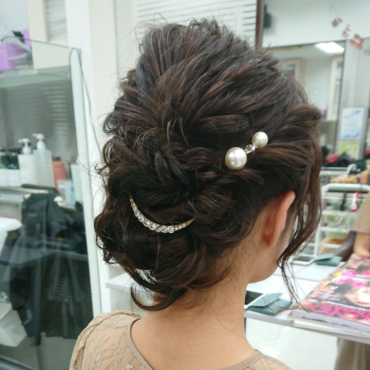 大人女子 結婚式ヘアアレンジ ヘアセット ミディアムヘアスタイルや髪型の写真・画像