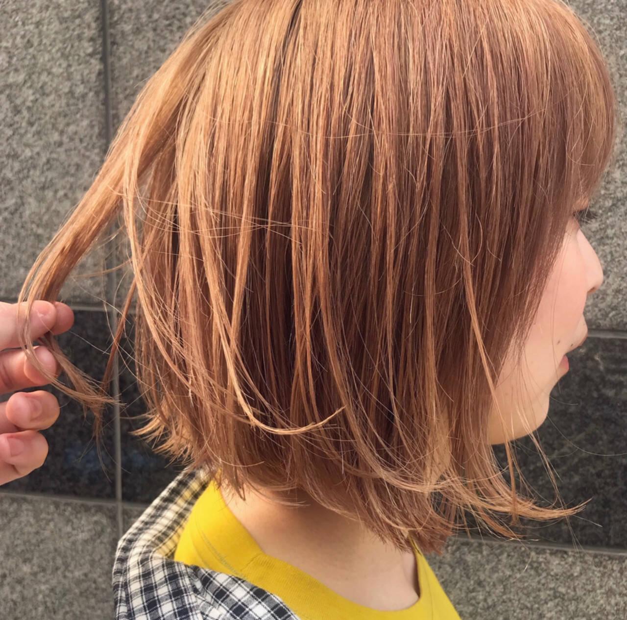 ナチュラル ボブヘアー ボブ オレンジカラーヘアスタイルや髪型の写真・画像