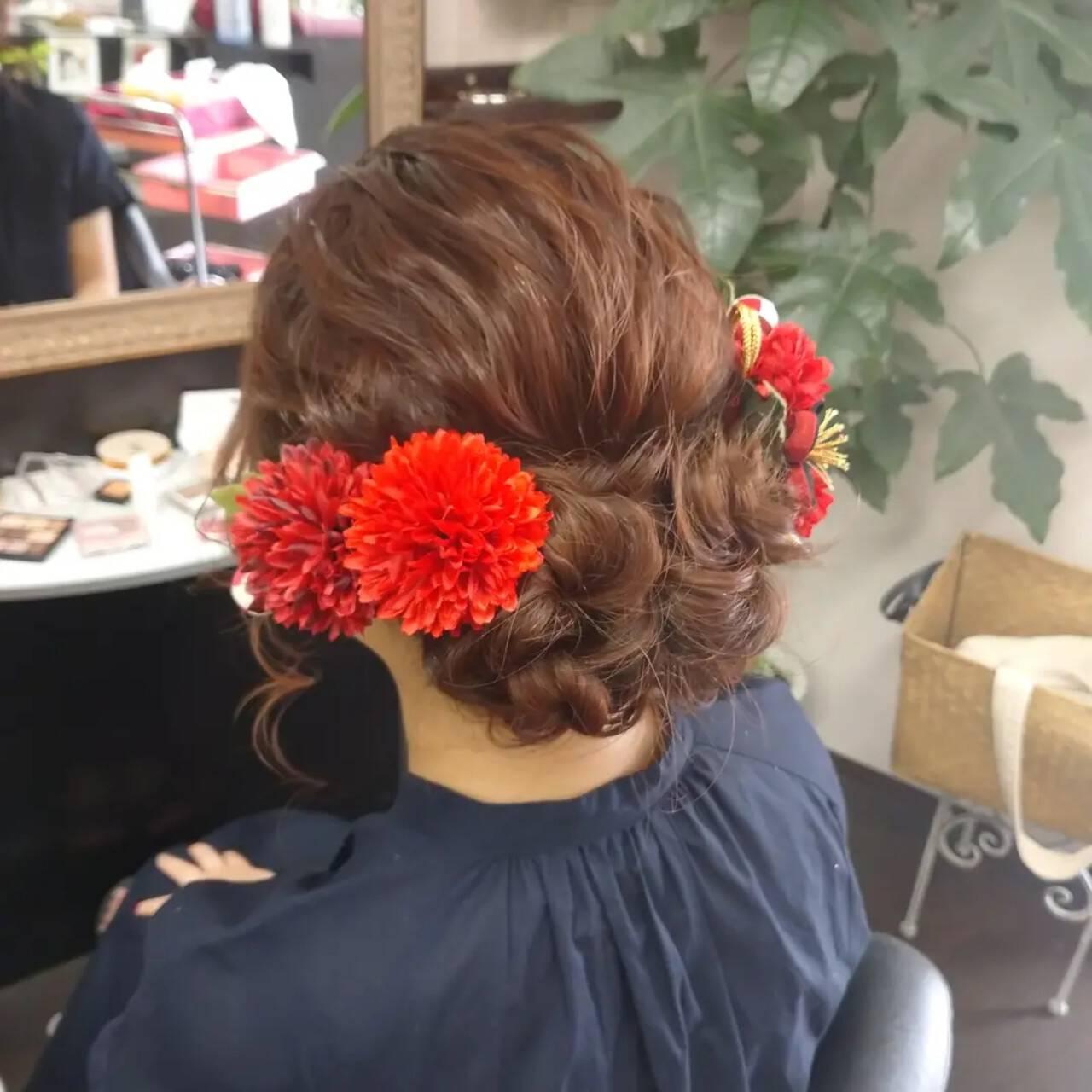 ヘアセット 成人式ヘア ナチュラル ふわふわヘアアレンジヘアスタイルや髪型の写真・画像