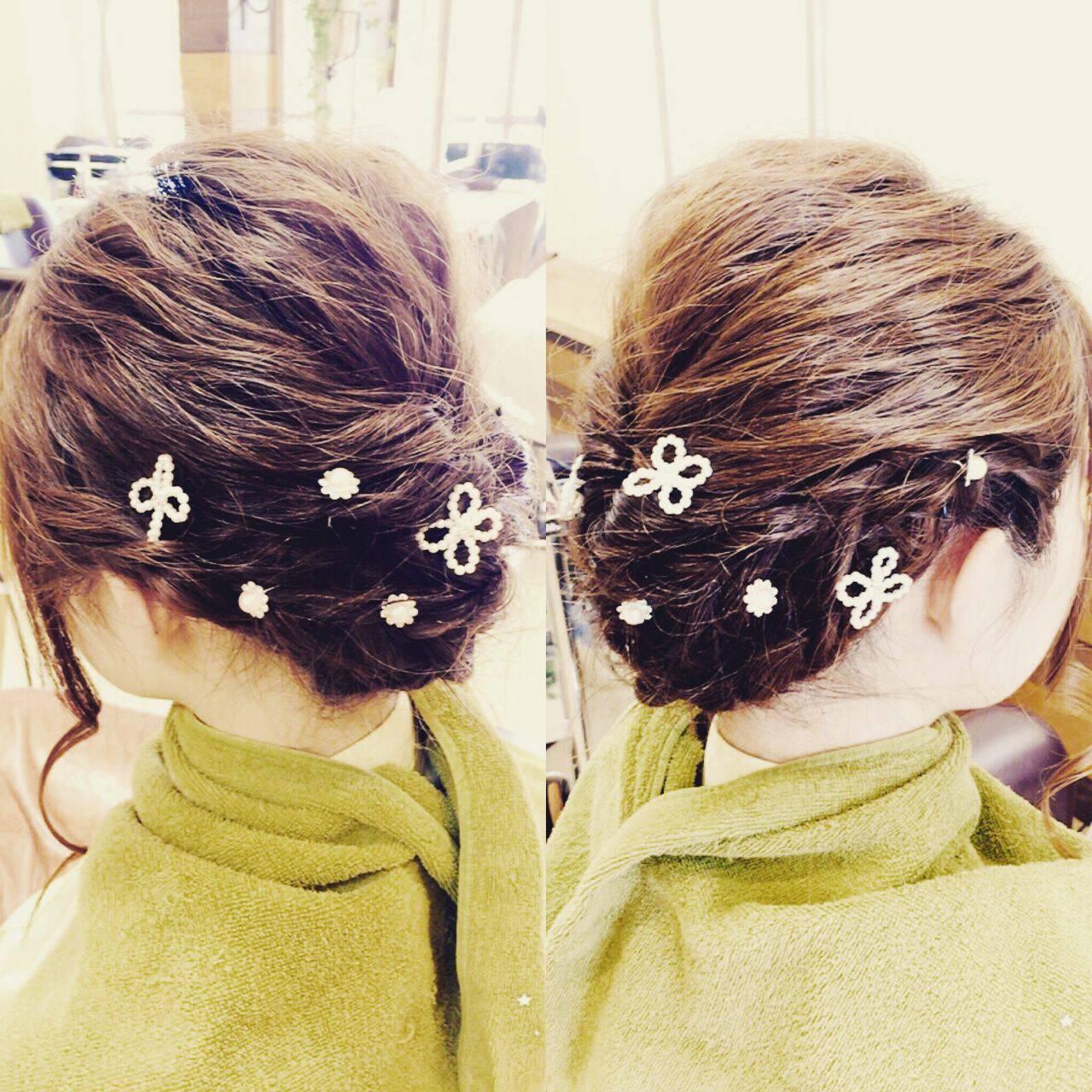 アップスタイル ガーリー 和装 編み込みヘアスタイルや髪型の写真・画像