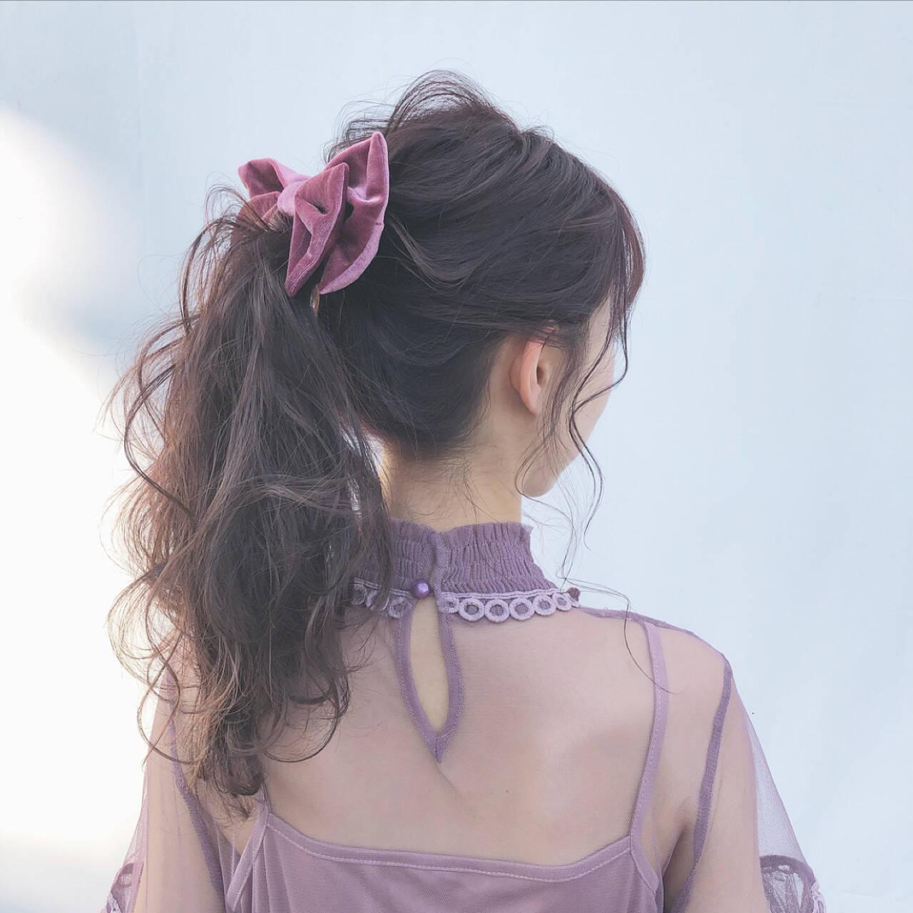デート ガーリー 大人かわいい ポニーテールヘアスタイルや髪型の写真・画像