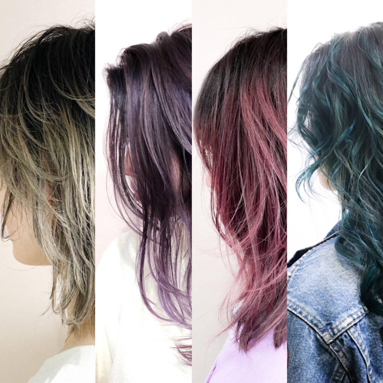 ミニボブ バレイヤージュ ショートボブ インナーカラーヘアスタイルや髪型の写真・画像