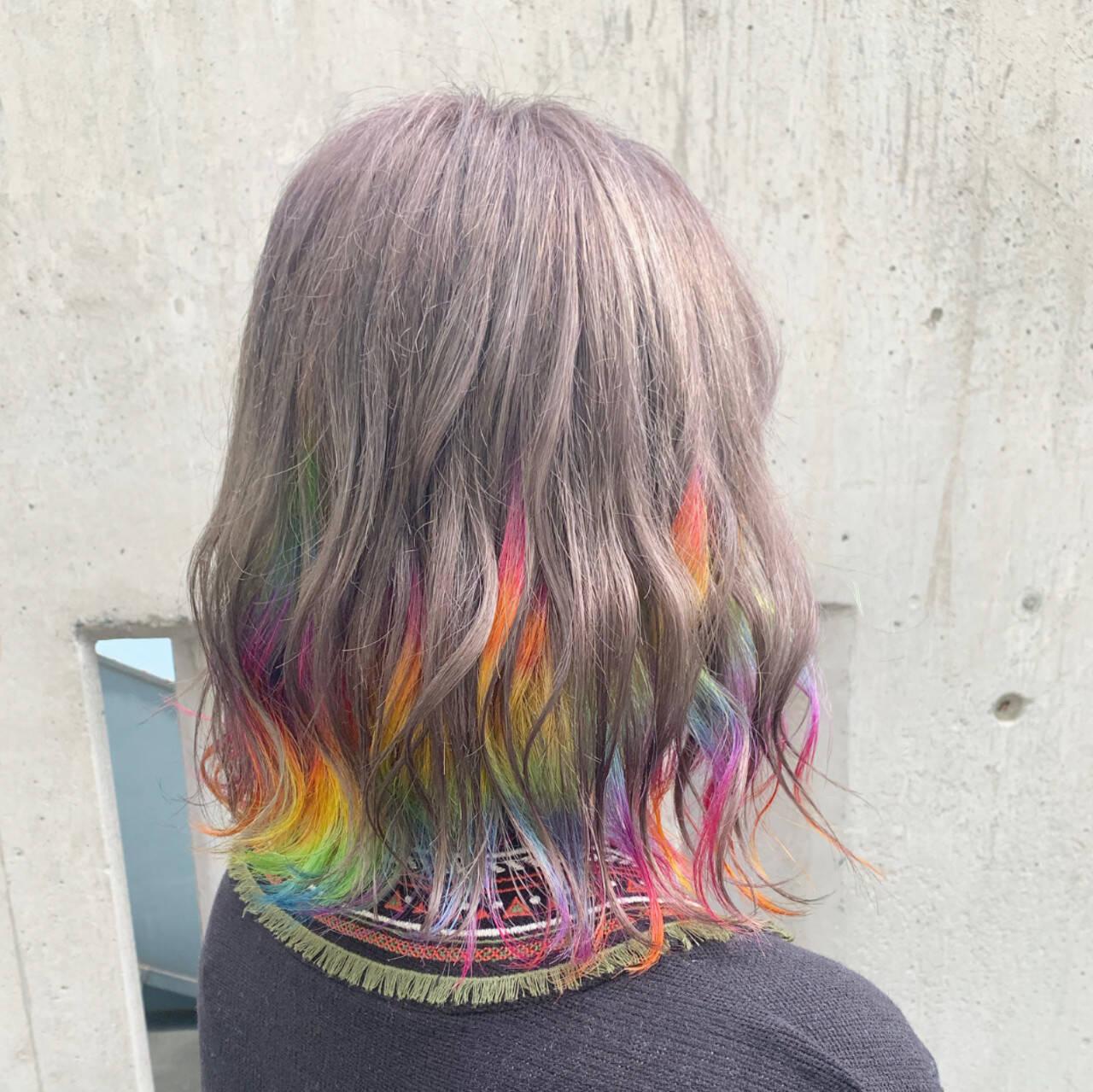 ボブ ユニコーンカラー ストリート インナーカラーヘアスタイルや髪型の写真・画像