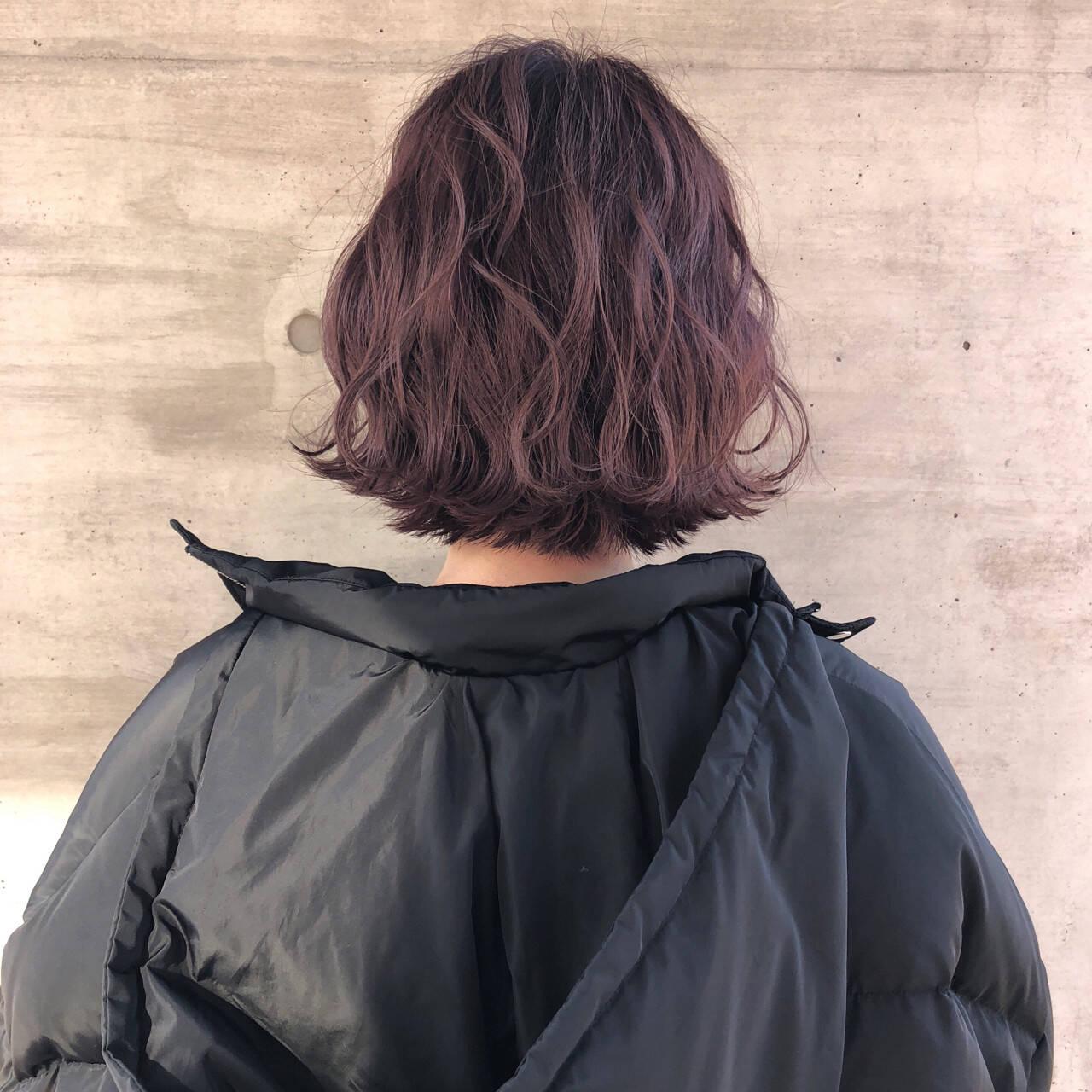 ボブ ピンクアッシュ 透明感 アンニュイヘアスタイルや髪型の写真・画像