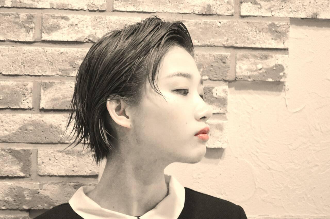 ショート モード アッシュ 暗髪ヘアスタイルや髪型の写真・画像