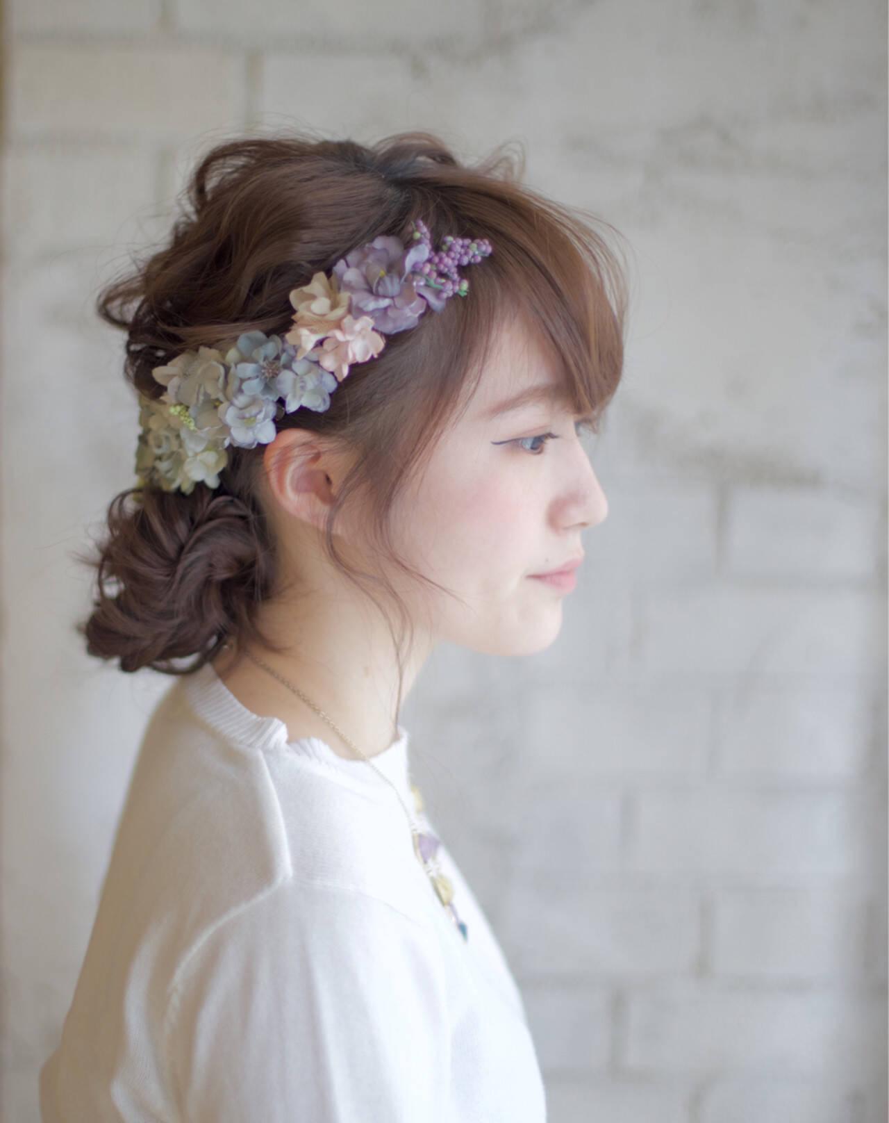花 花嫁 セミロング ヘアアレンジヘアスタイルや髪型の写真・画像