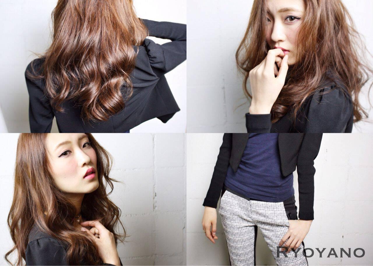 モード コンサバ ロング ウェーブヘアスタイルや髪型の写真・画像