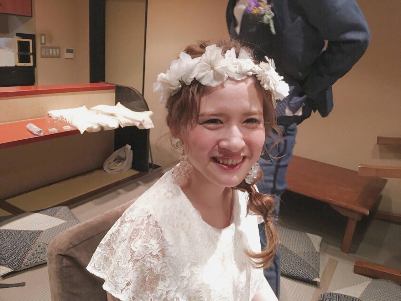 波ウェーブ 花嫁 ねじり セミロングヘアスタイルや髪型の写真・画像