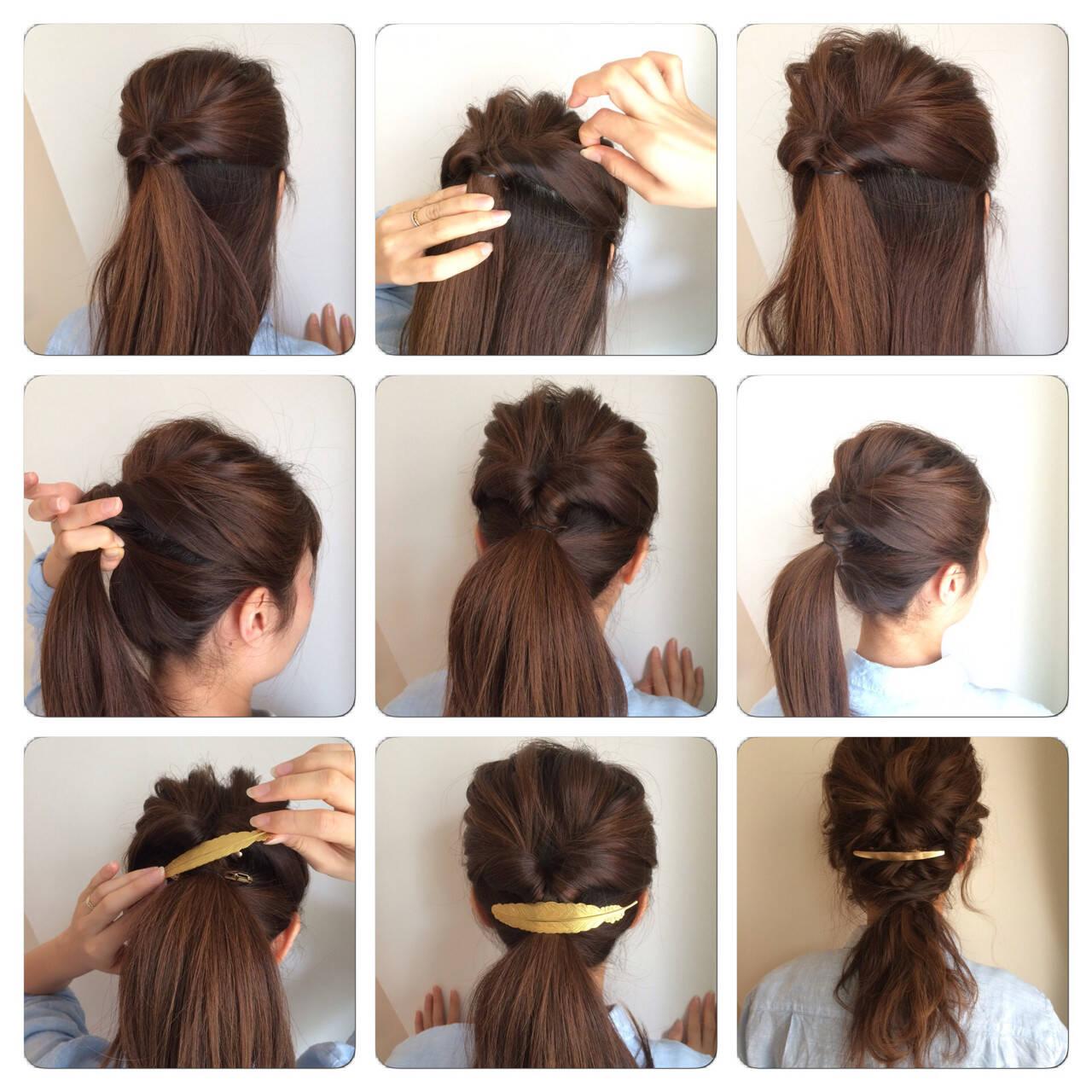ショート 簡単ヘアアレンジ セミロング くるりんぱヘアスタイルや髪型の写真・画像