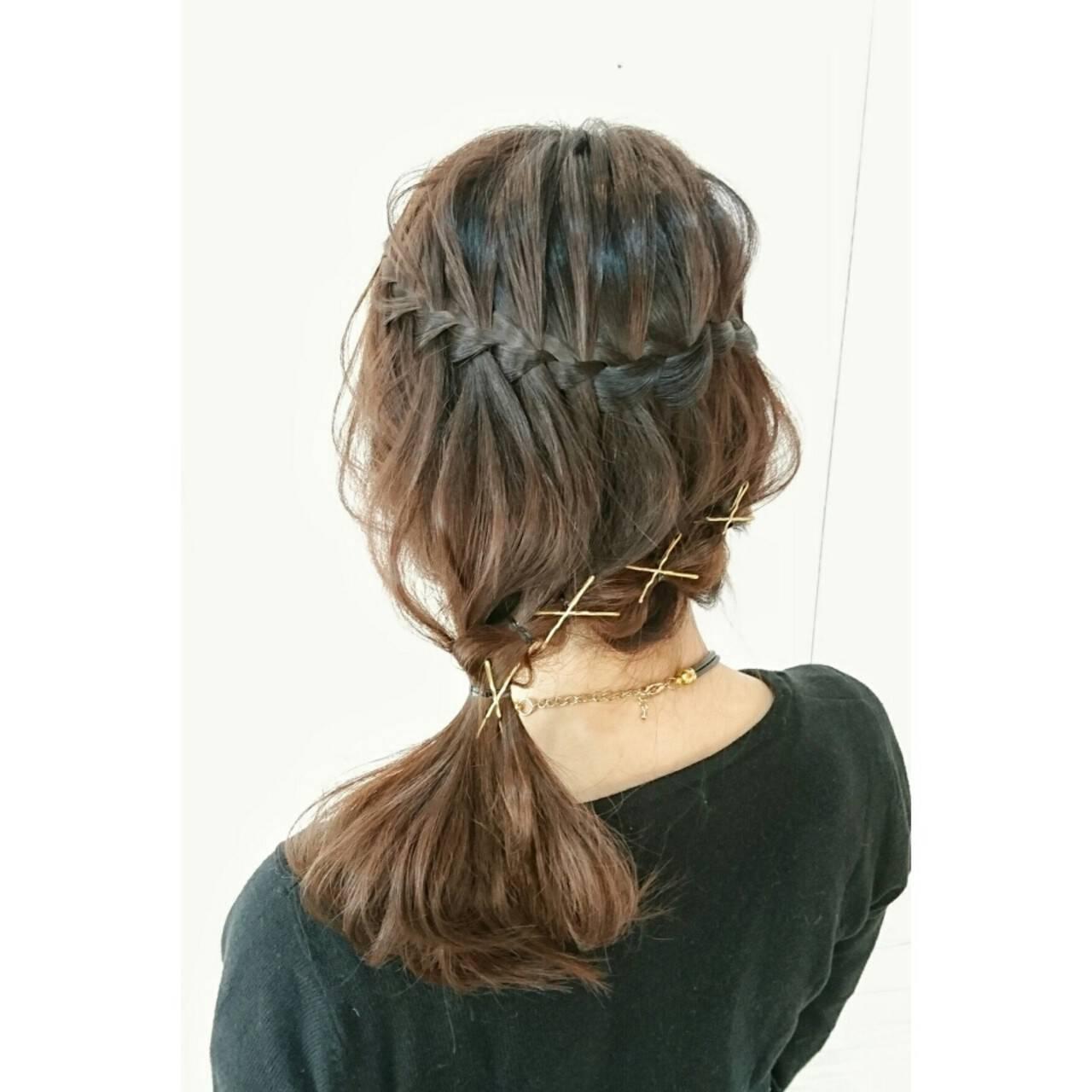 ミディアム 上品 ポニーテール ヘアピンヘアスタイルや髪型の写真・画像