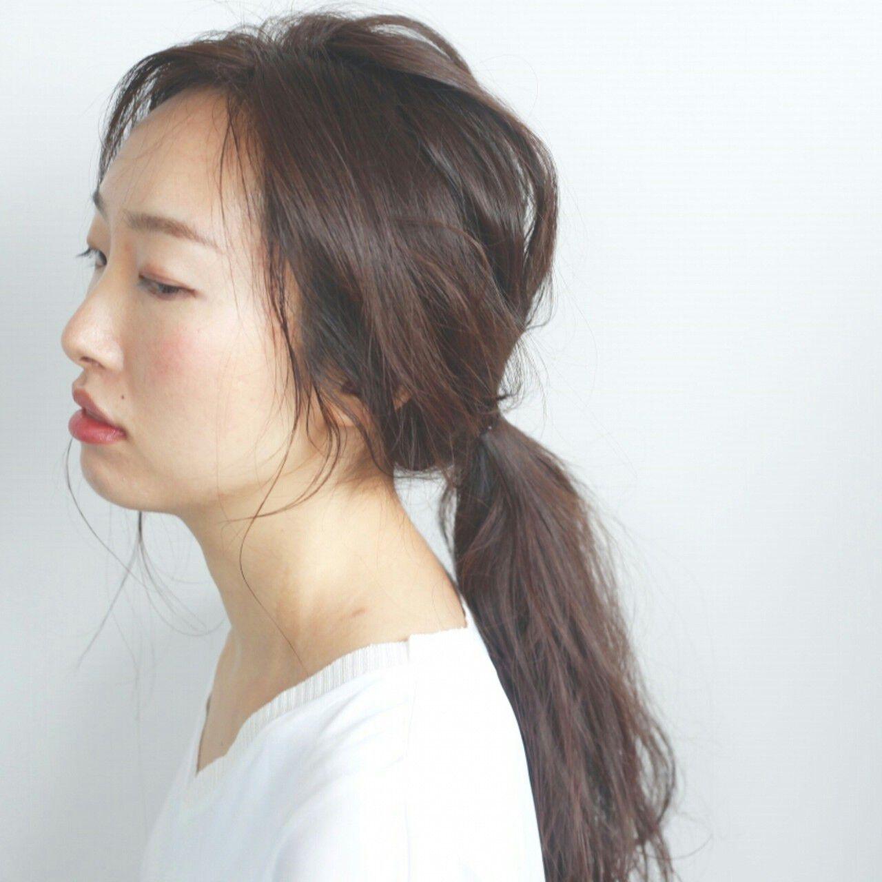 ロング ヘアアレンジ アンニュイ 簡単ヘアアレンジヘアスタイルや髪型の写真・画像