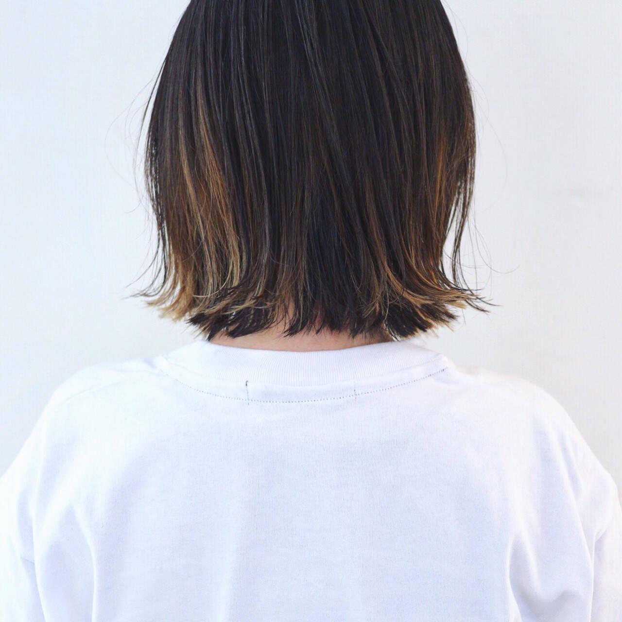 グラデーションカラー バレイヤージュ インナーカラー ストリートヘアスタイルや髪型の写真・画像