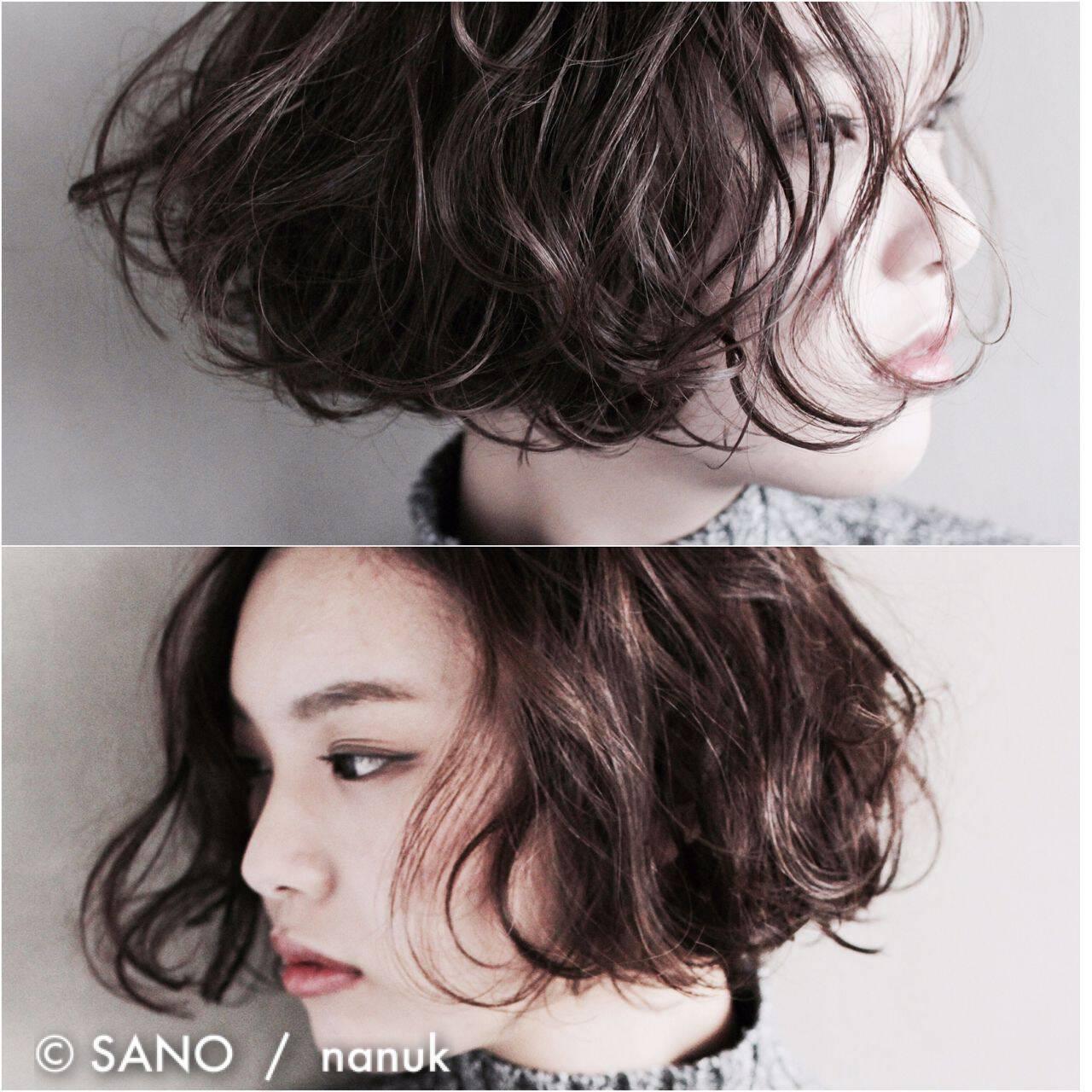 モード 抜け感 ボブ ウェットヘアヘアスタイルや髪型の写真・画像