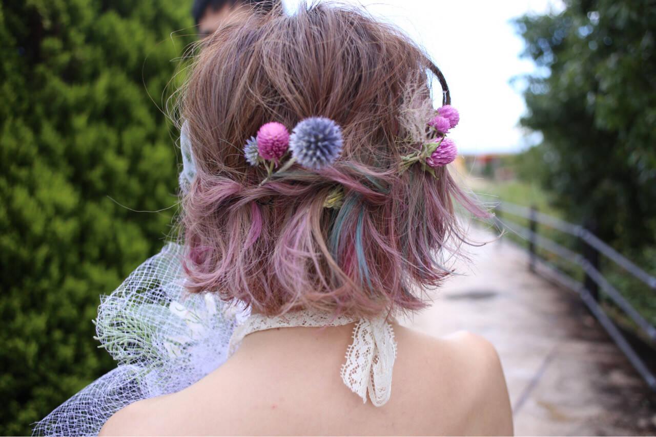 結婚式 クリスマス インナーカラー ヘアアレンジヘアスタイルや髪型の写真・画像