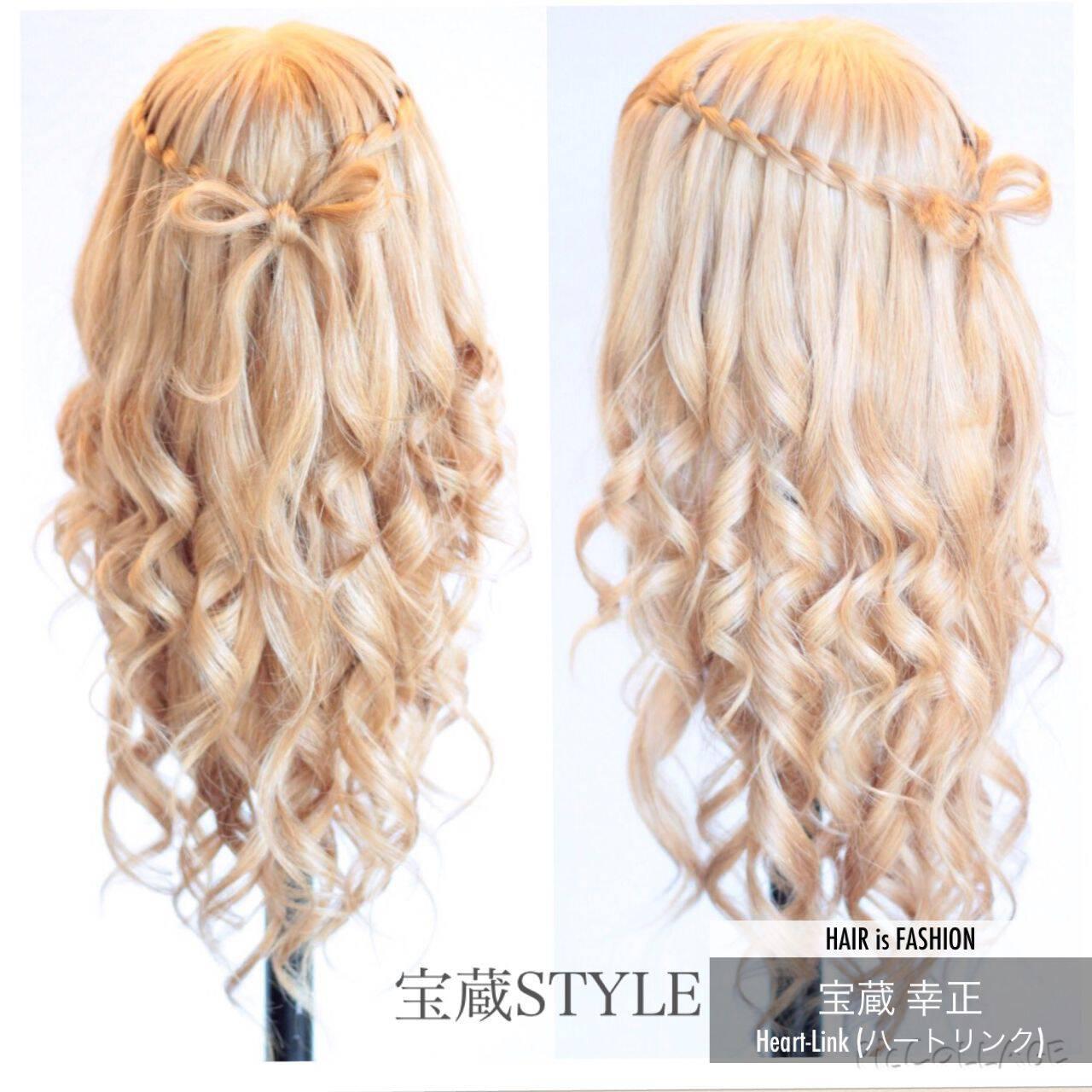大人かわいい ヘアアレンジ ロング ウォーターフォールヘアスタイルや髪型の写真・画像