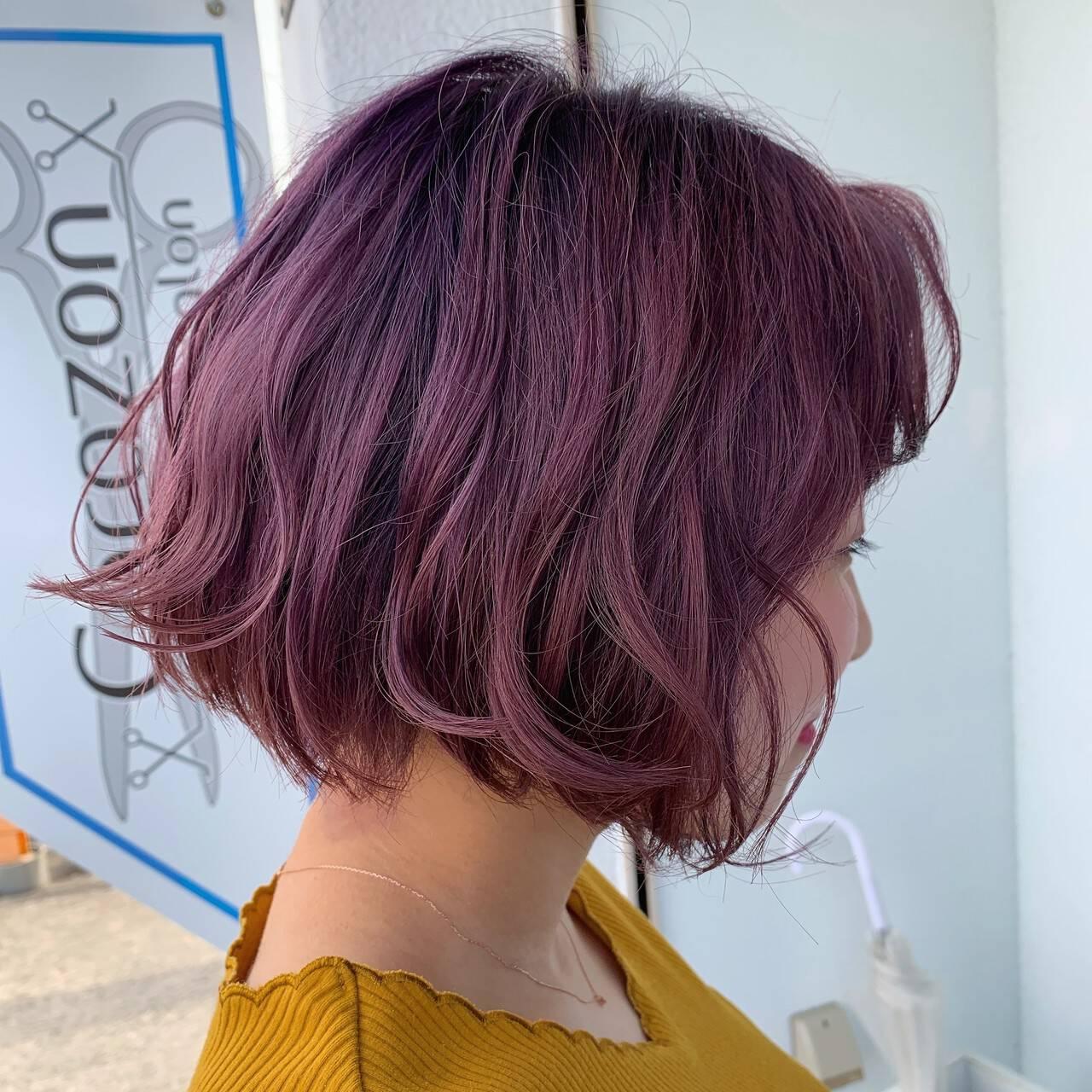 ラズベリーピンク エレガント ラベンダーピンク ピンクブラウンヘアスタイルや髪型の写真・画像
