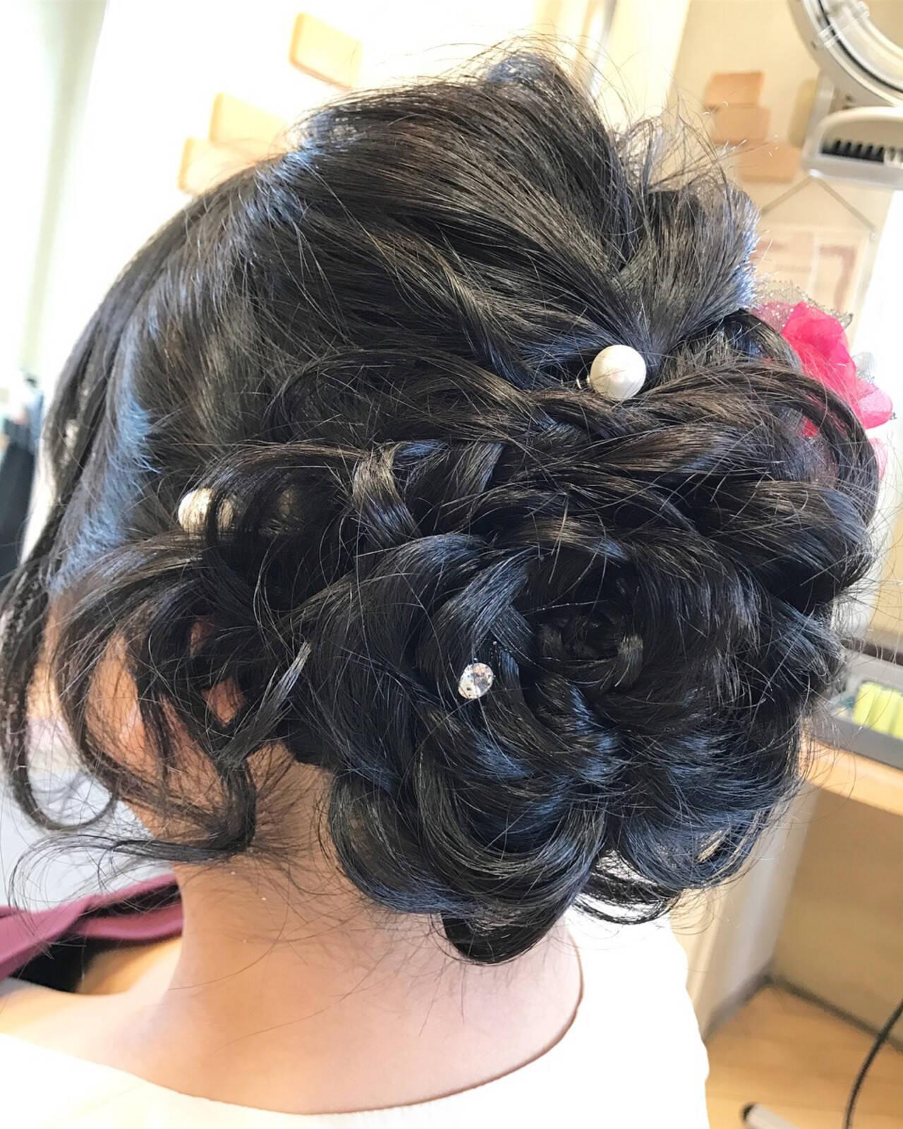 結婚式 エレガント 上品 花ヘアスタイルや髪型の写真・画像