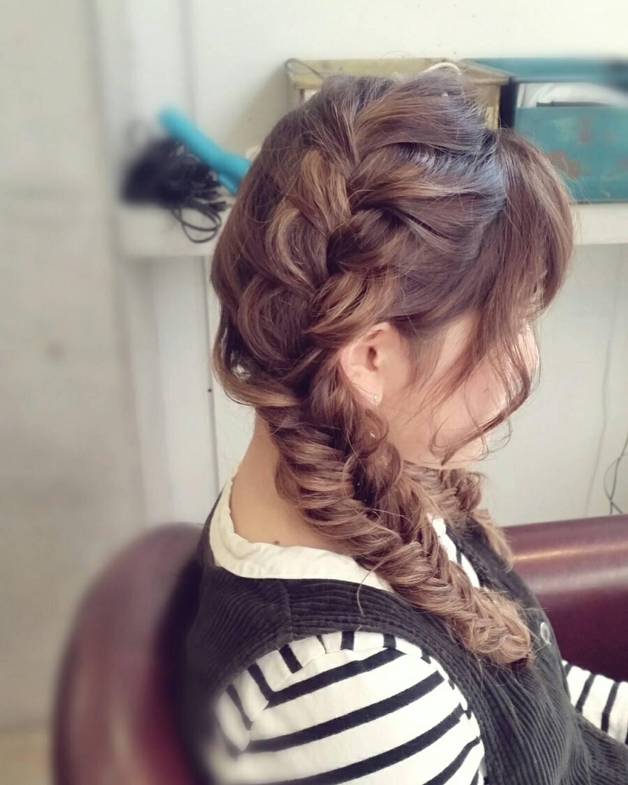 ショート ハーフアップ 簡単ヘアアレンジ 編み込みヘアスタイルや髪型の写真・画像