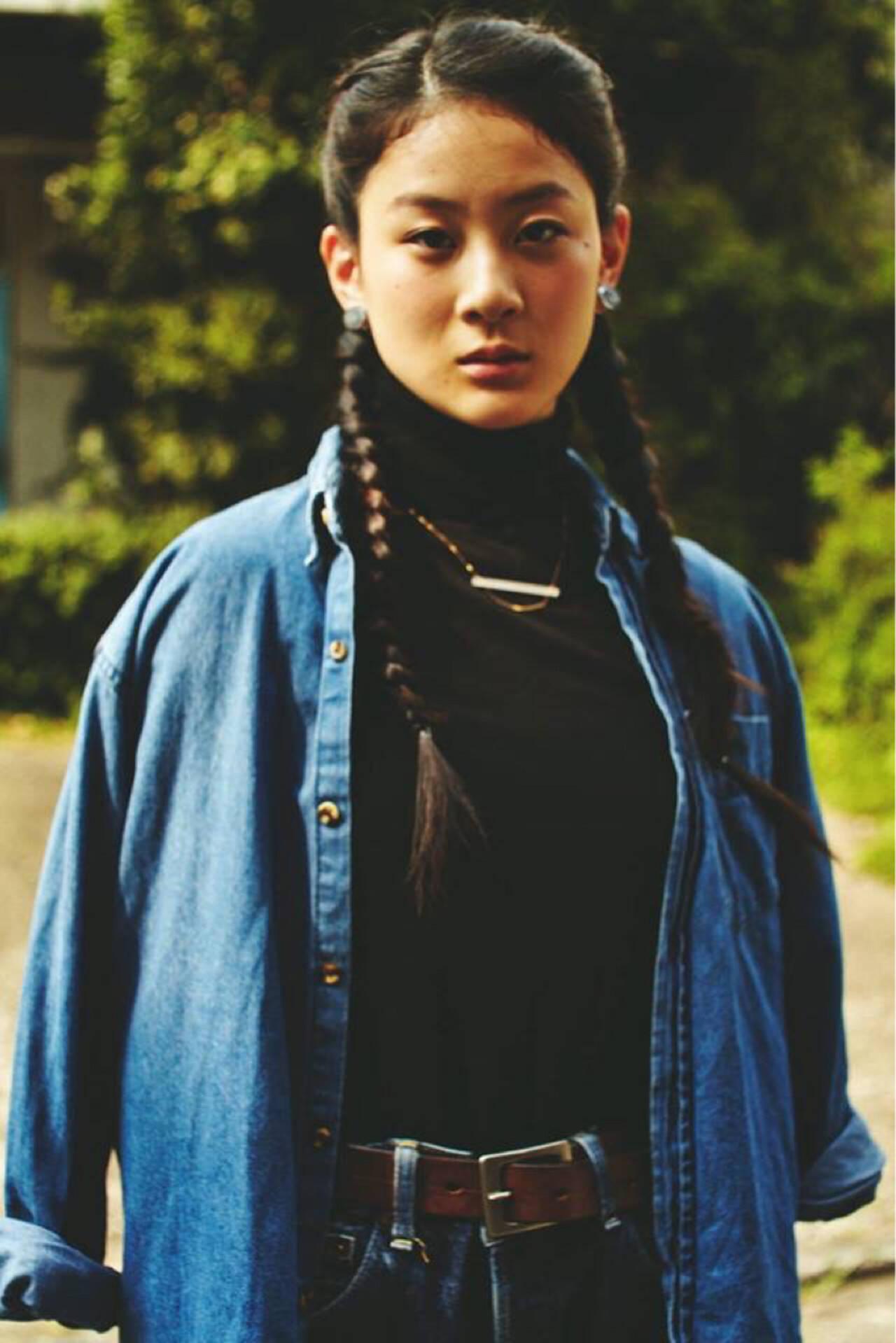 ヘアアレンジ かっこいい 編み込み ロングヘアスタイルや髪型の写真・画像