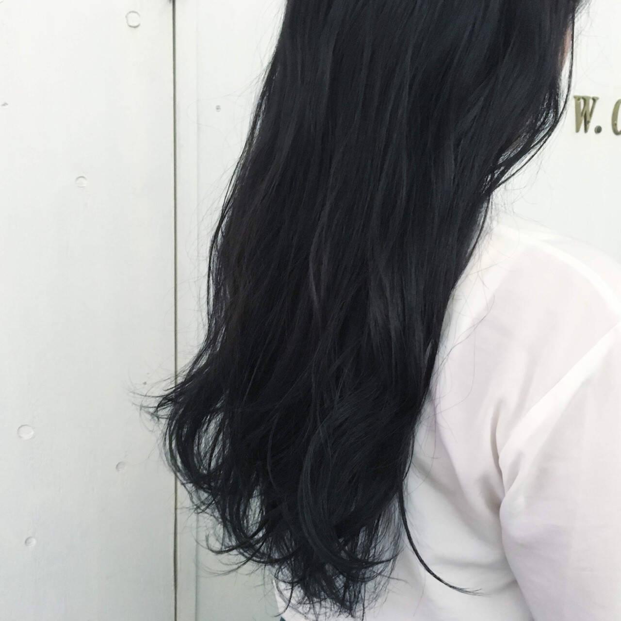 ブルージュ ブルー ロング 暗髪ヘアスタイルや髪型の写真・画像