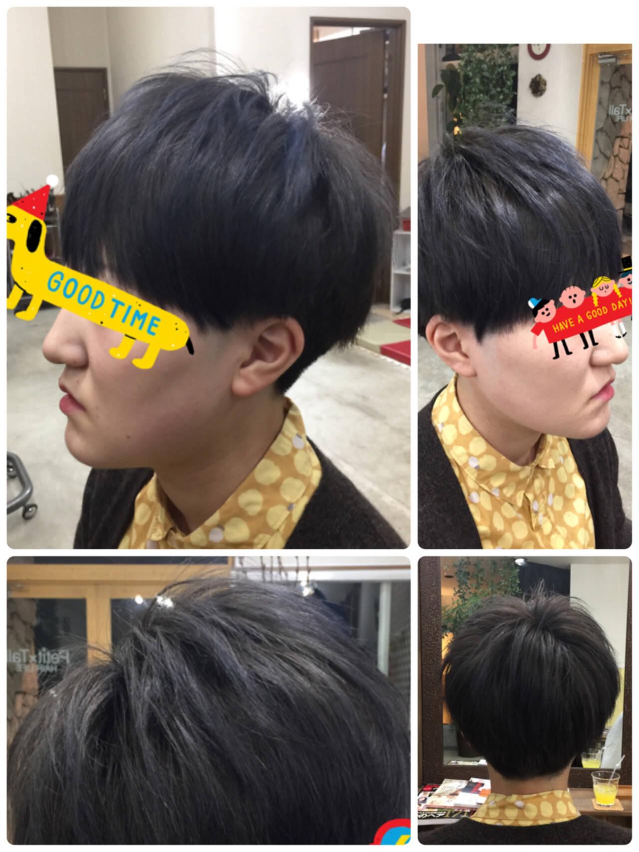 ネイビー ショート モード 暗髪ヘアスタイルや髪型の写真・画像