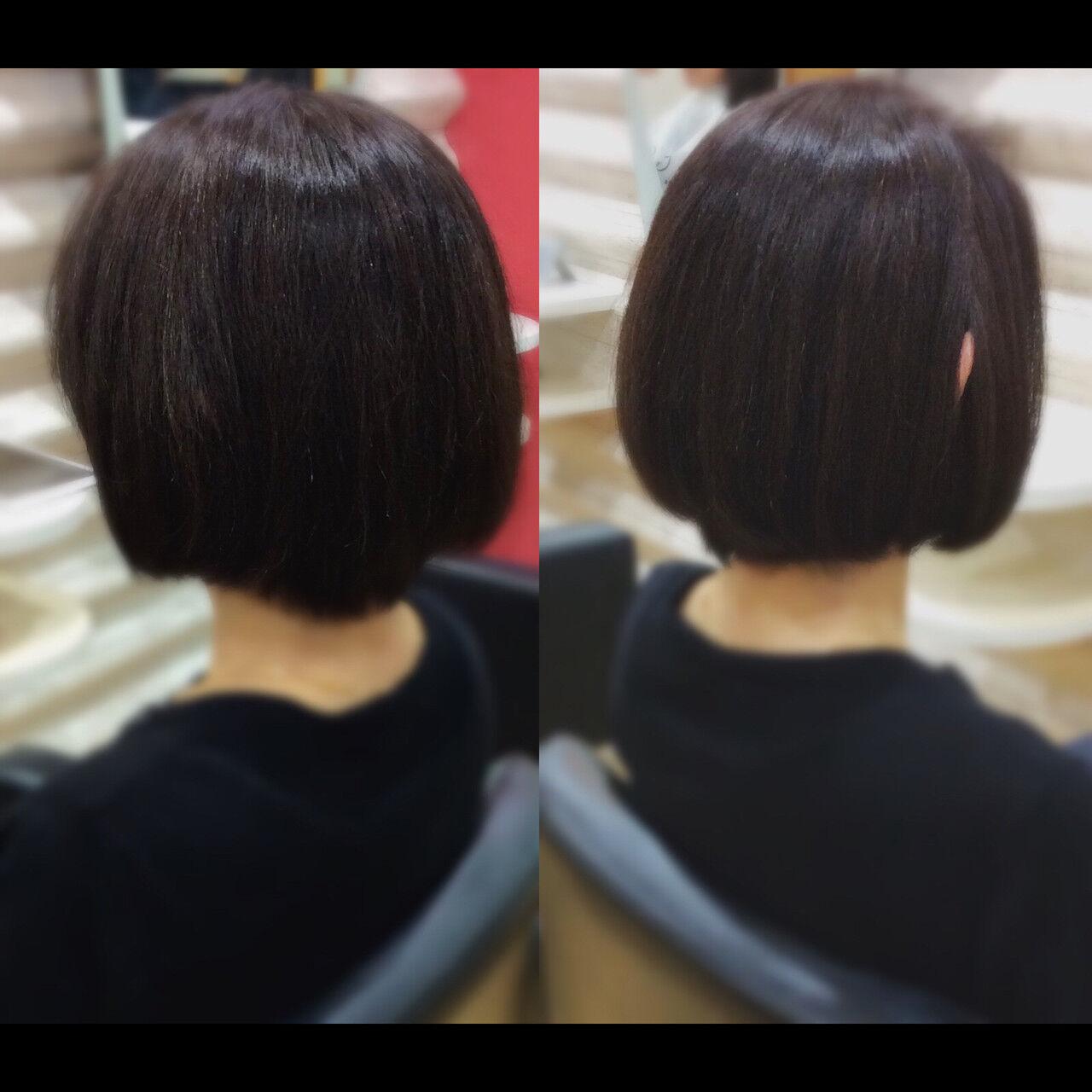 髪質改善トリートメント ナチュラル 髪質改善カラー ボブヘアスタイルや髪型の写真・画像