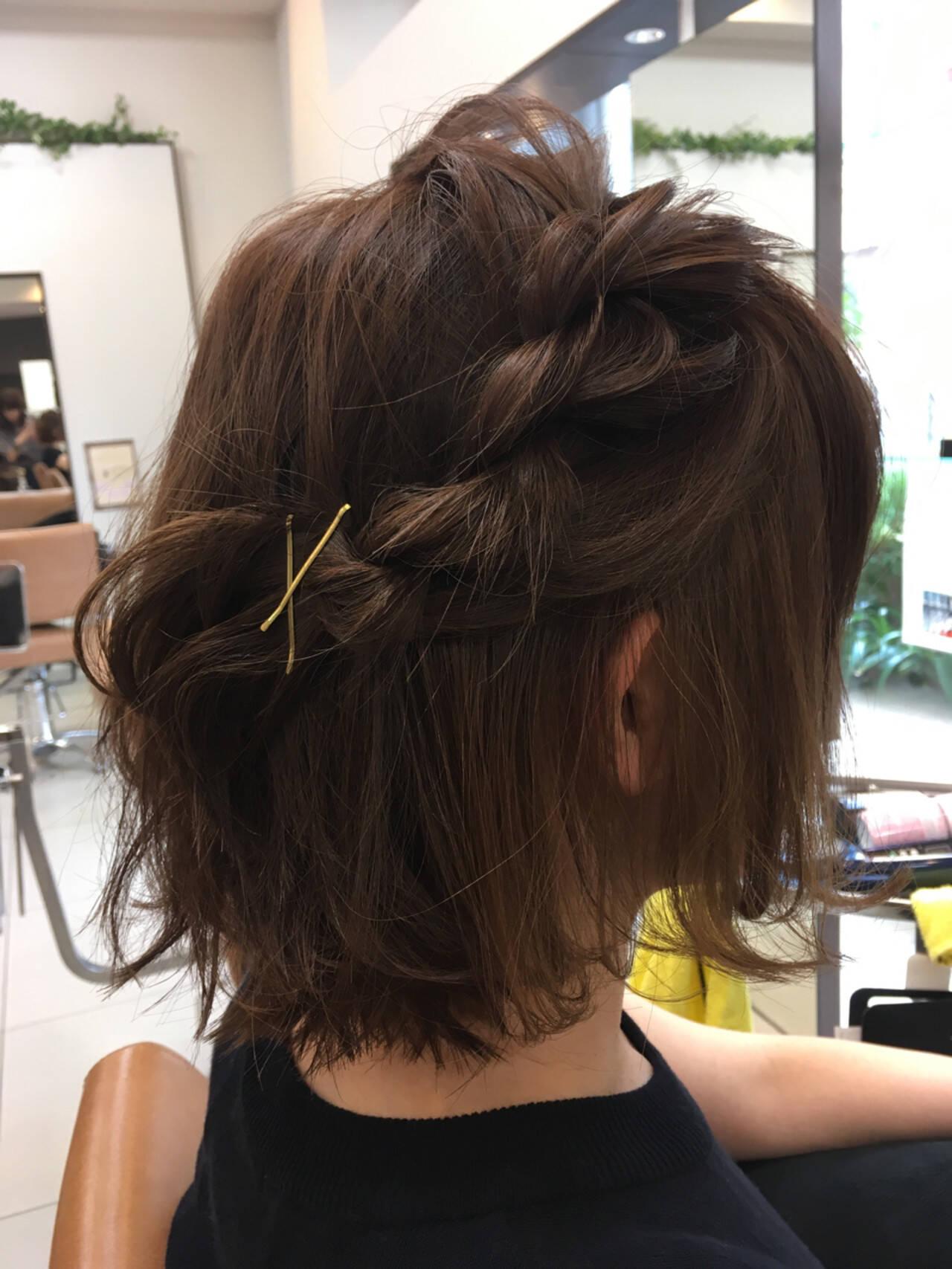 簡単ヘアアレンジ 編み込み ボブ ヘアアレンジヘアスタイルや髪型の写真・画像