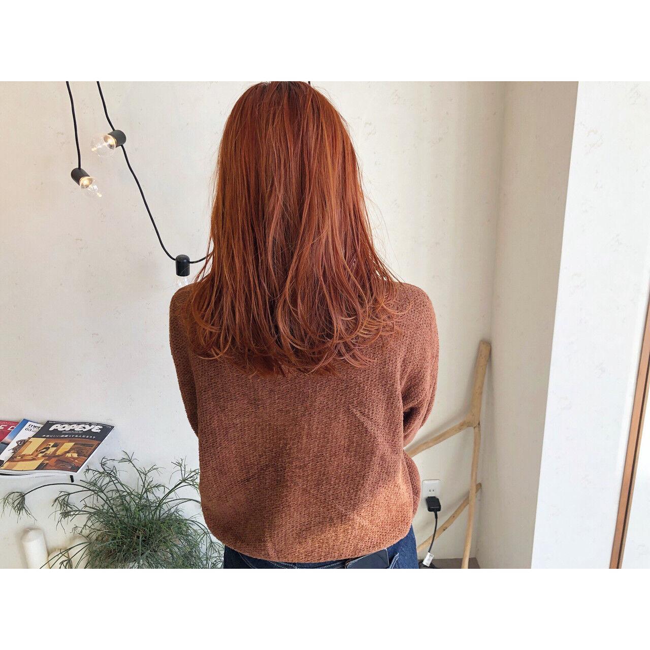 オレンジブラウン オレンジベージュ アプリコットオレンジ オレンジヘアスタイルや髪型の写真・画像