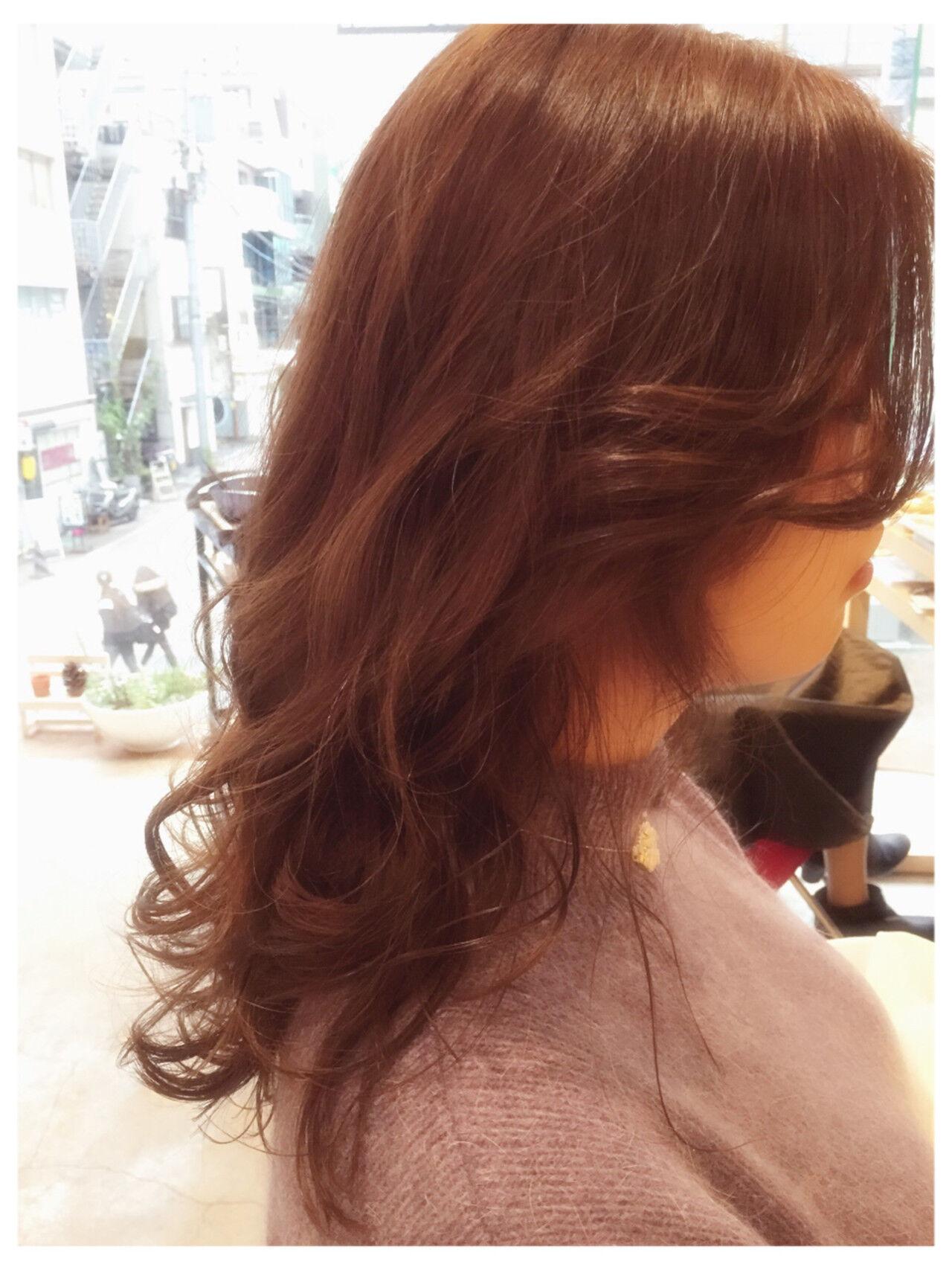 レッド ベージュ かわいい ガーリーヘアスタイルや髪型の写真・画像