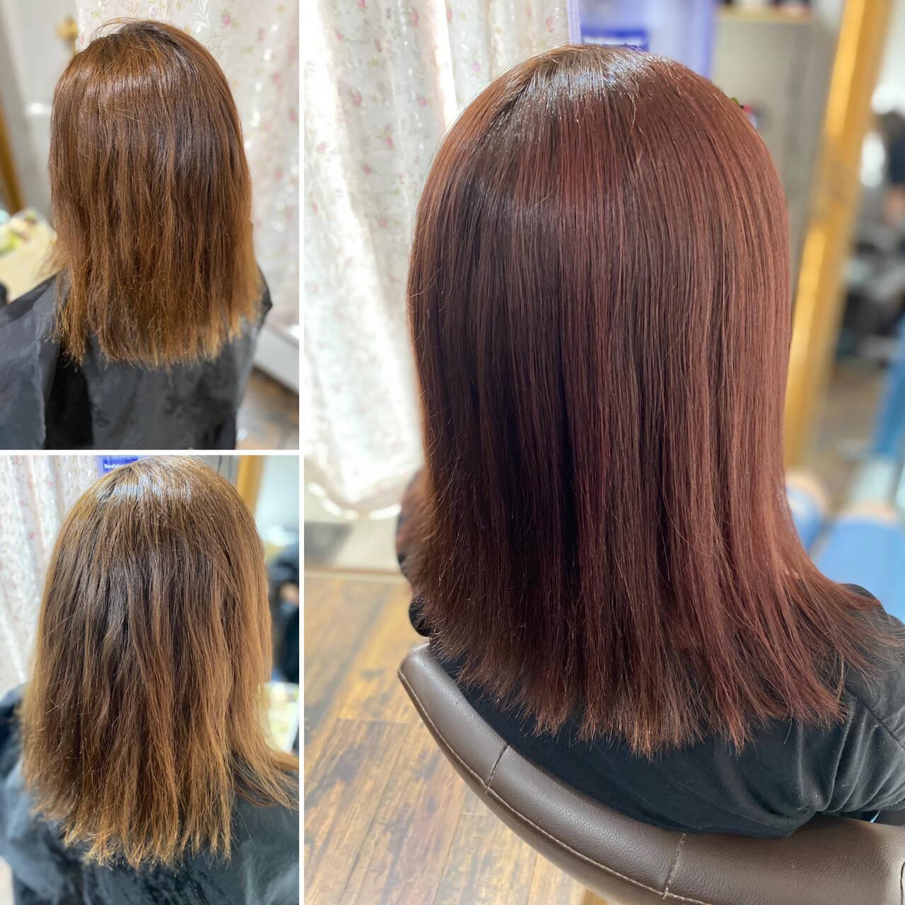 コーラルピンク コーラル 大人ハイライト エレガントヘアスタイルや髪型の写真・画像