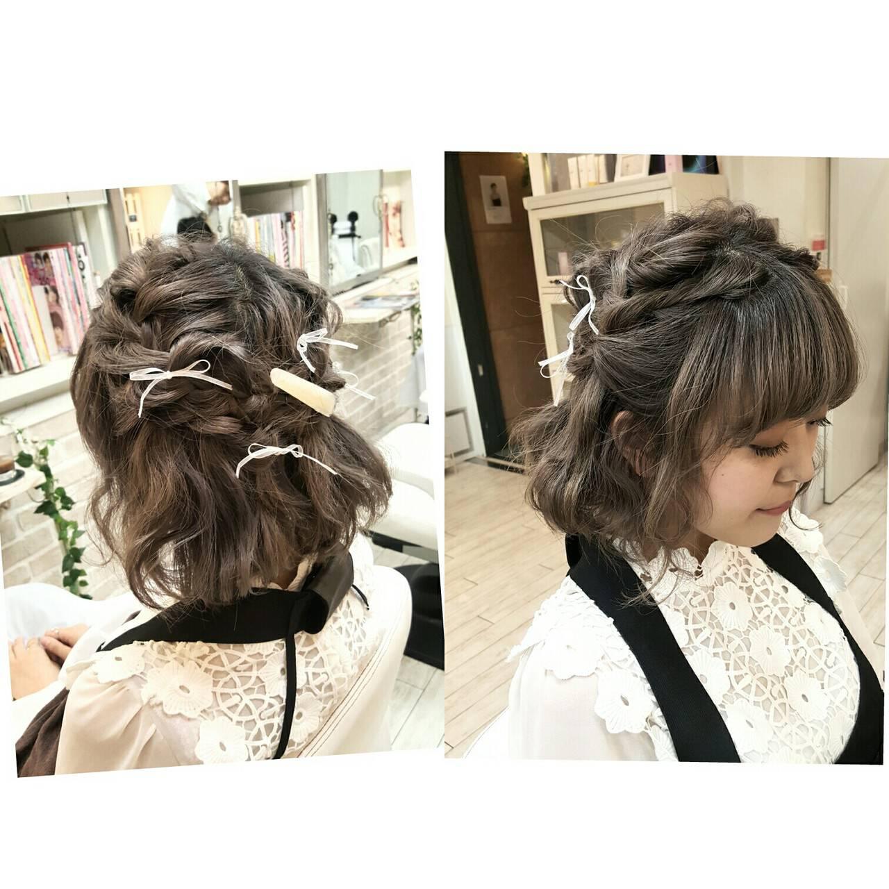 大人女子 ガーリー ヘアアレンジ ショートヘアスタイルや髪型の写真・画像