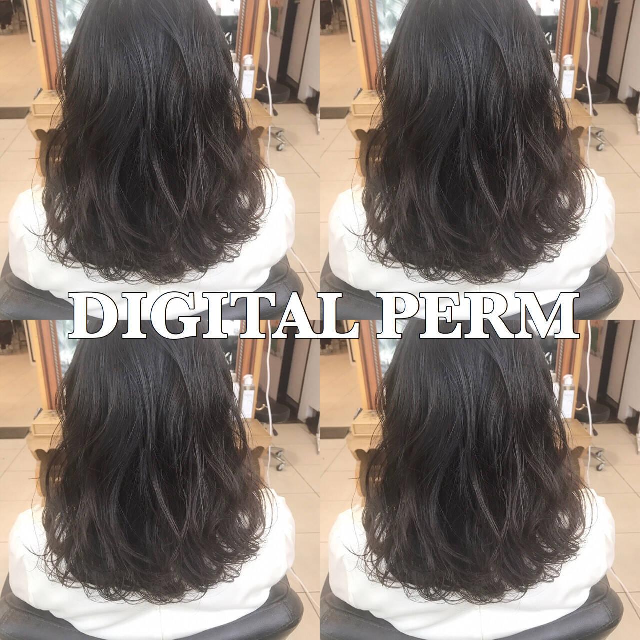 デジタルパーマ オフィス ミディアム パーマヘアスタイルや髪型の写真・画像