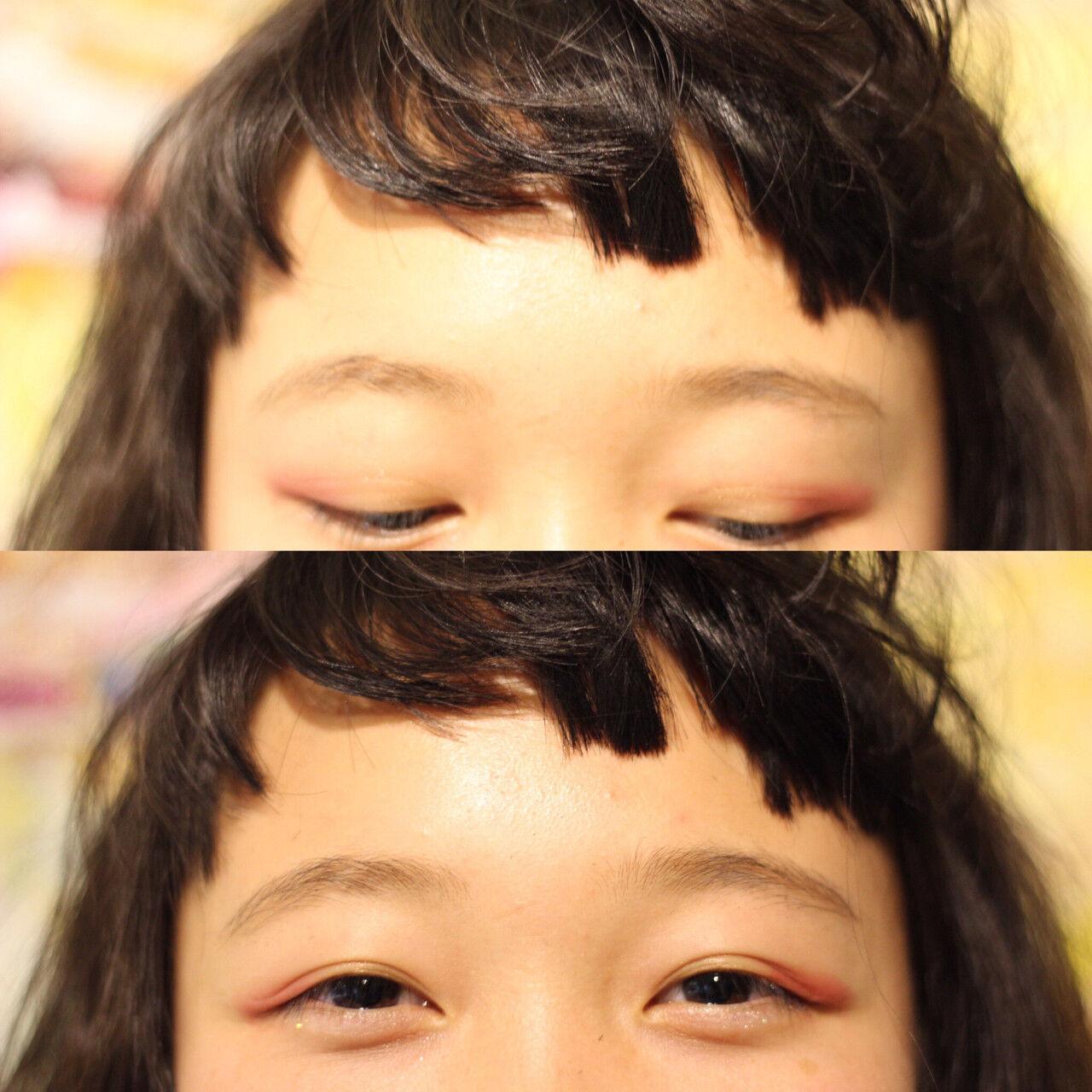 シースルーバング オン眉 ストレート 前髪パーマヘアスタイルや髪型の写真・画像