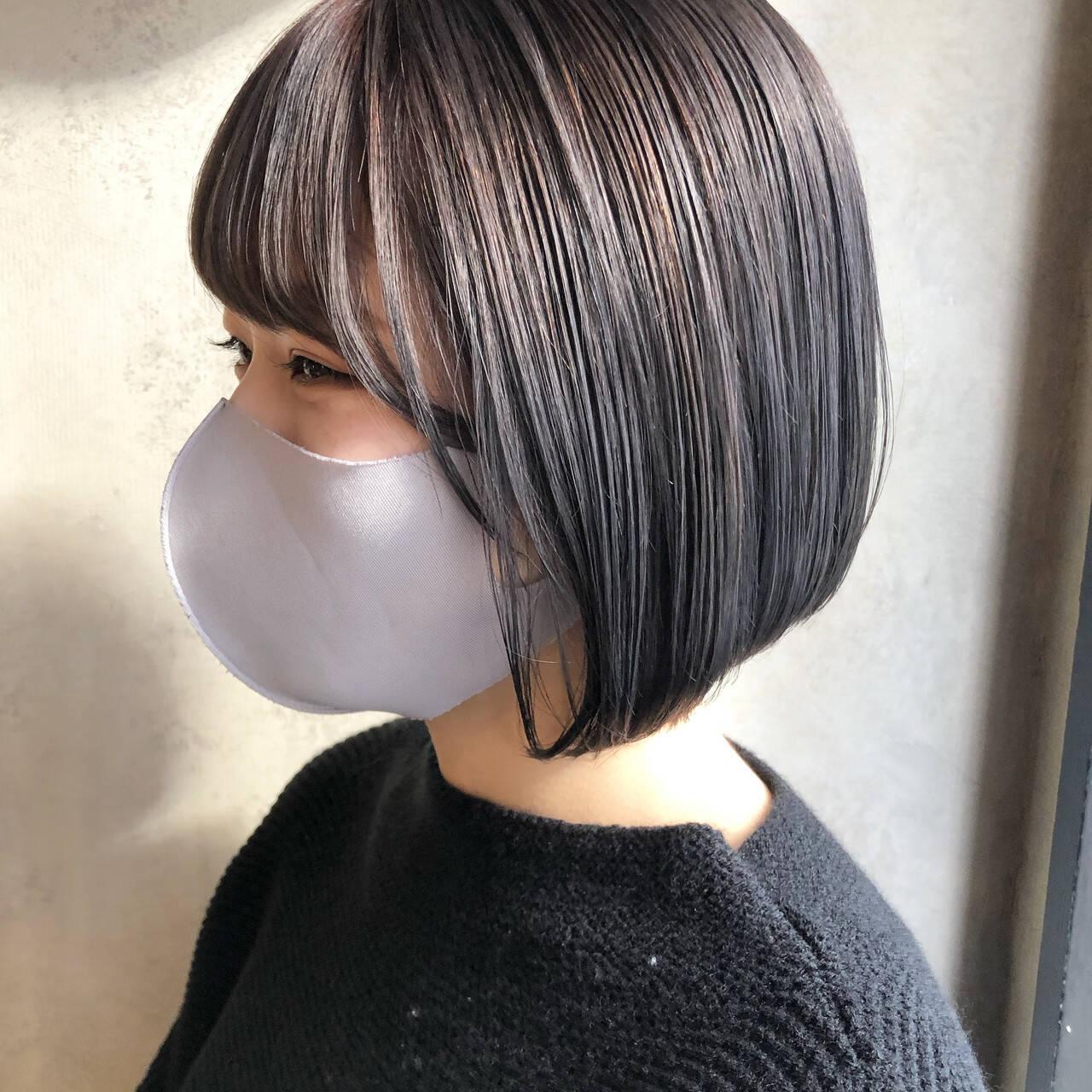 透明感カラー ショートヘア ボブ ミニボブヘアスタイルや髪型の写真・画像