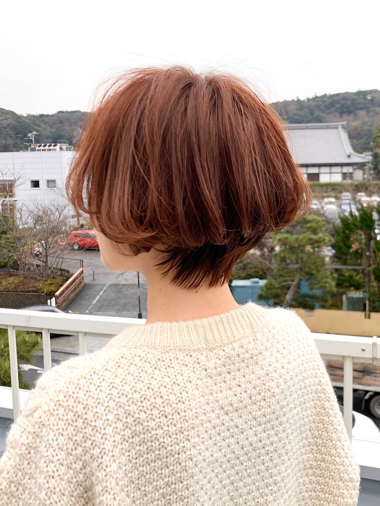 ナチュラル ショートボブ お洒落 秋冬スタイルヘアスタイルや髪型の写真・画像